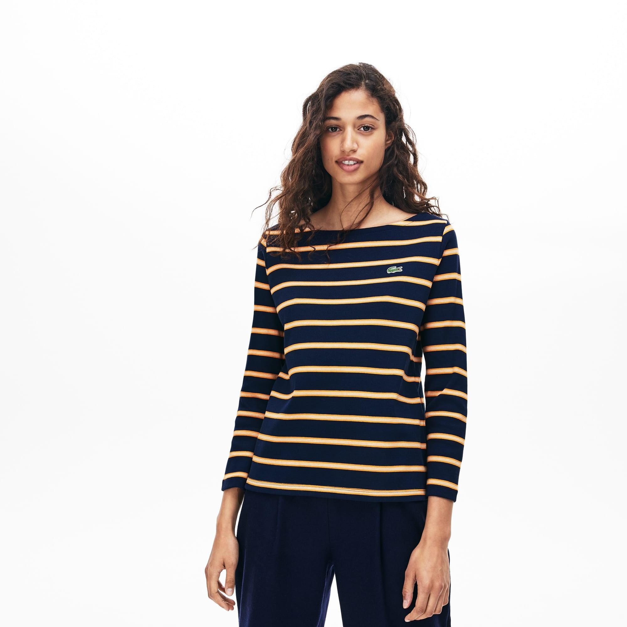 Lacoste Sweatshirt col bateau style marinière en coton côtelé Taille 38 Bleu Marine / Orange / Blanc