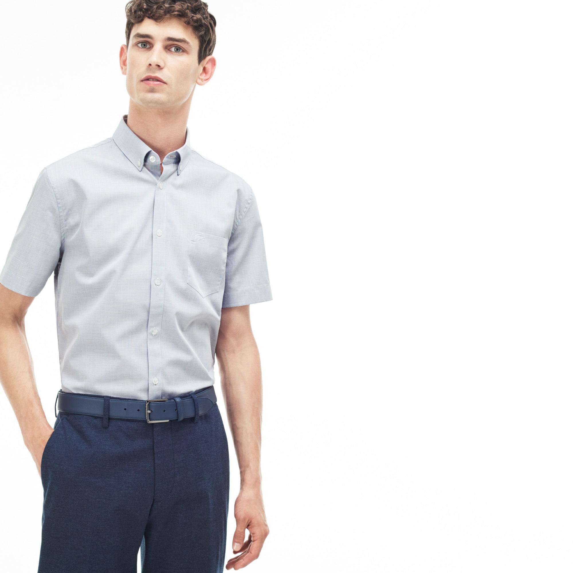 Chemise regular fit à manches courtes en popeline texturée