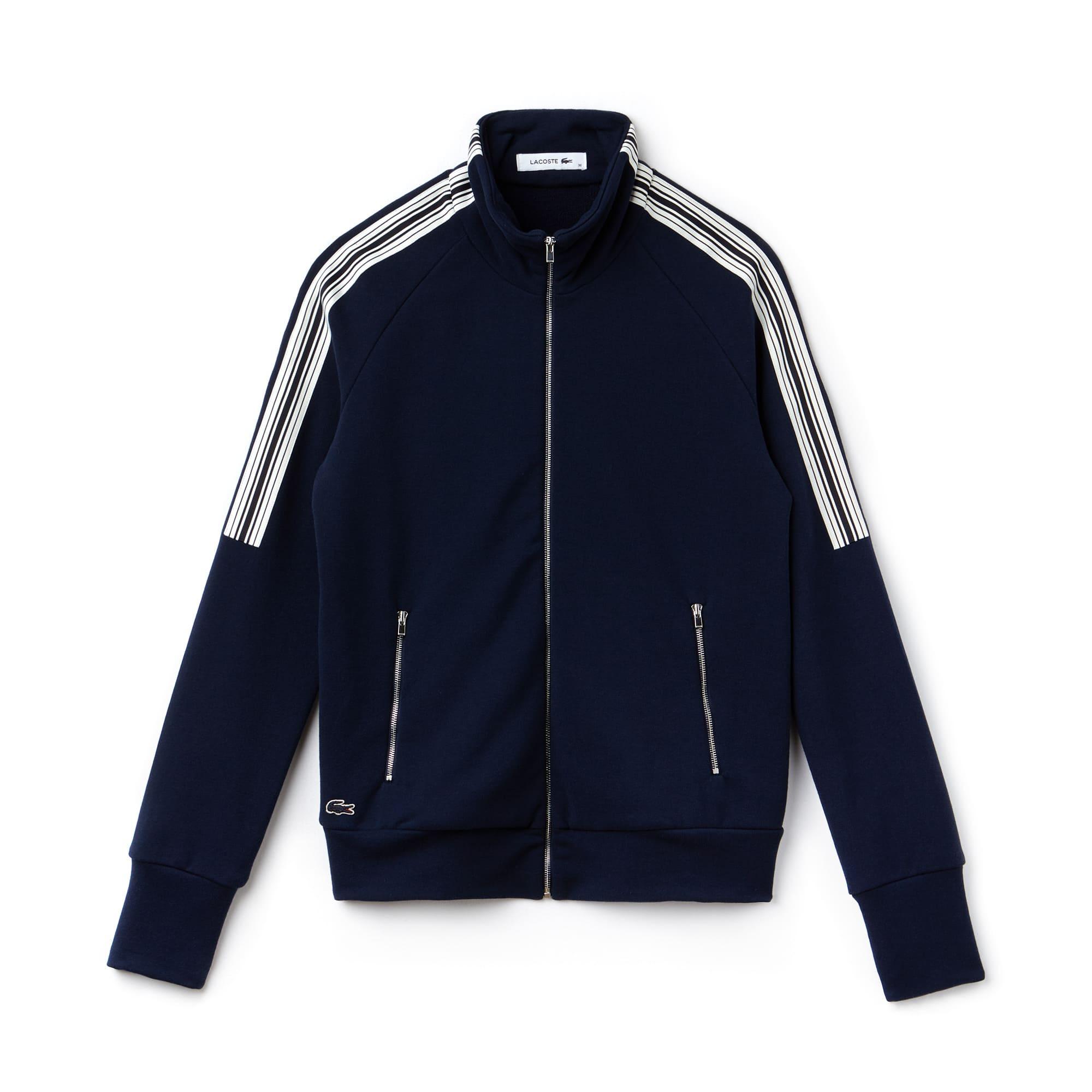 Sweatshirt zippé en molleton crêpe avec bandes contrastées