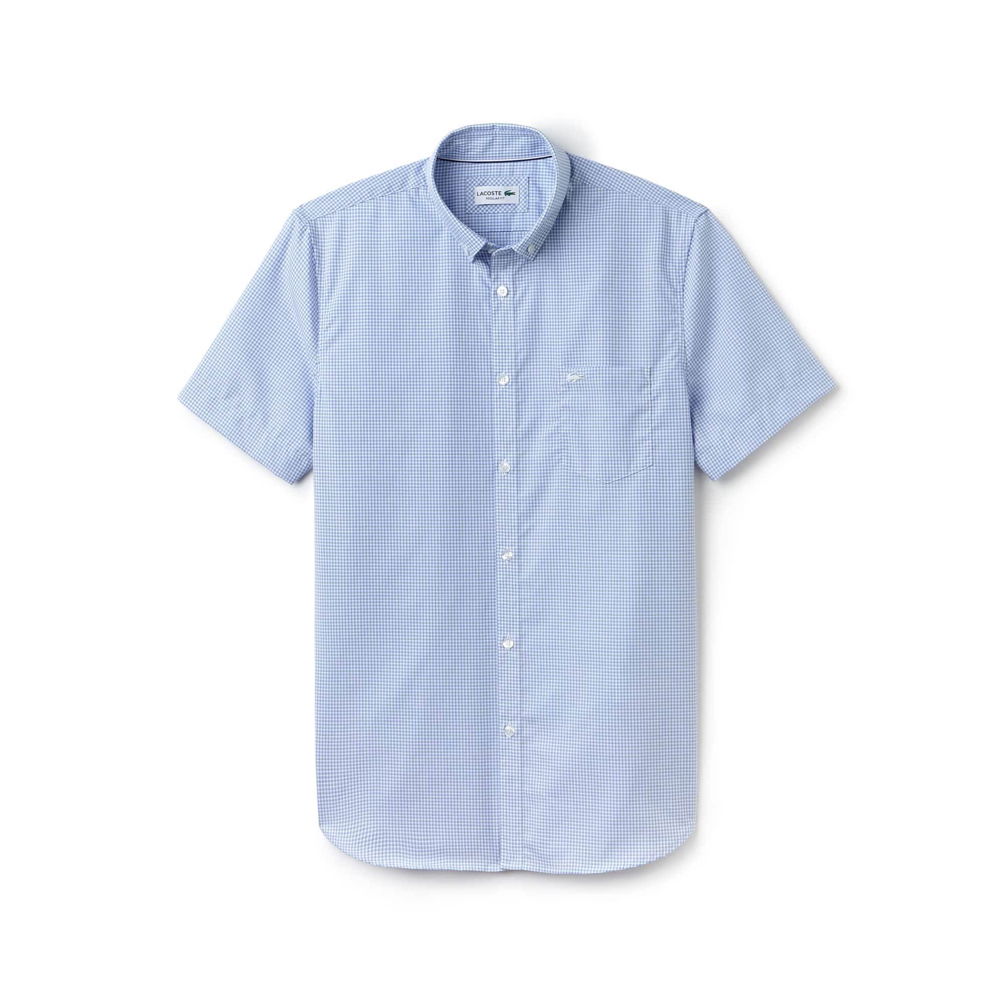 Chemise regular fit à manches courtes en popeline à mini carreaux