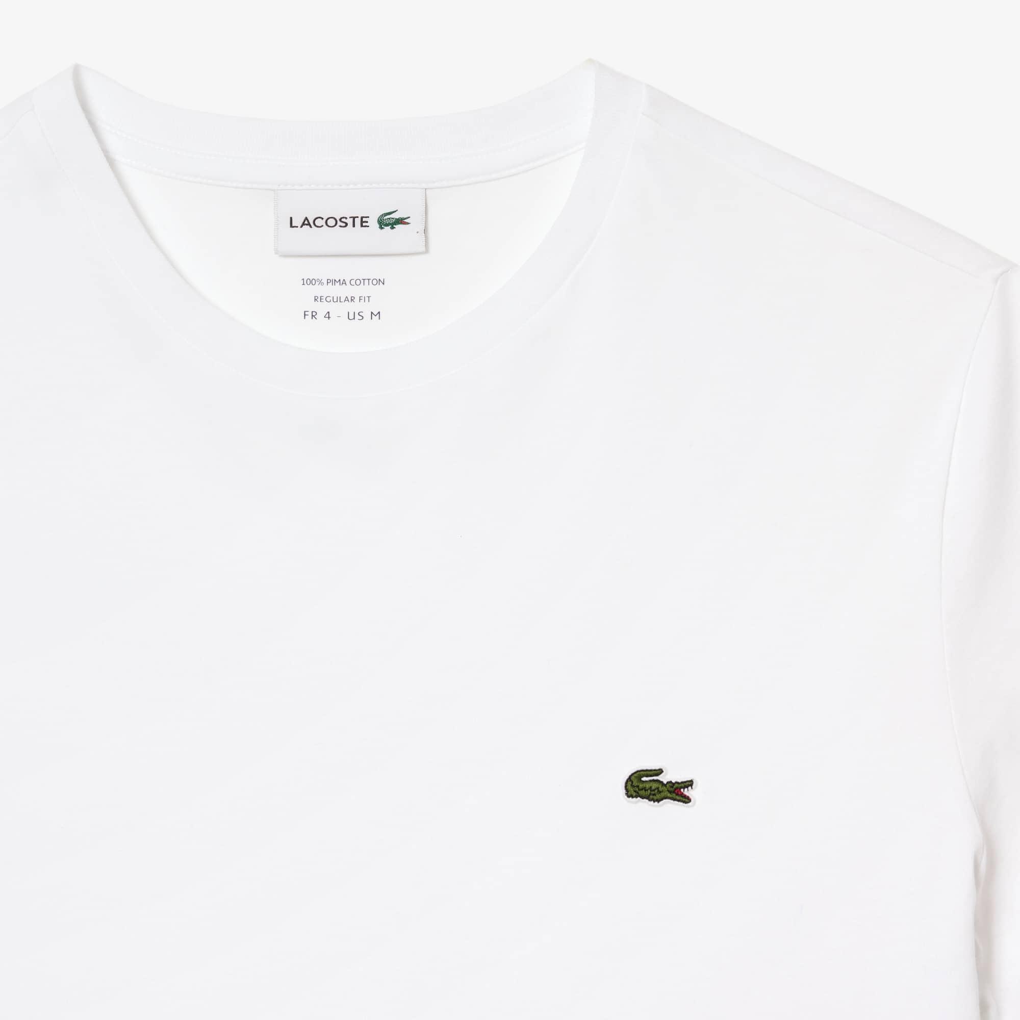 44b938a070 T-shirt col rond en jersey de coton pima uni   LACOSTE