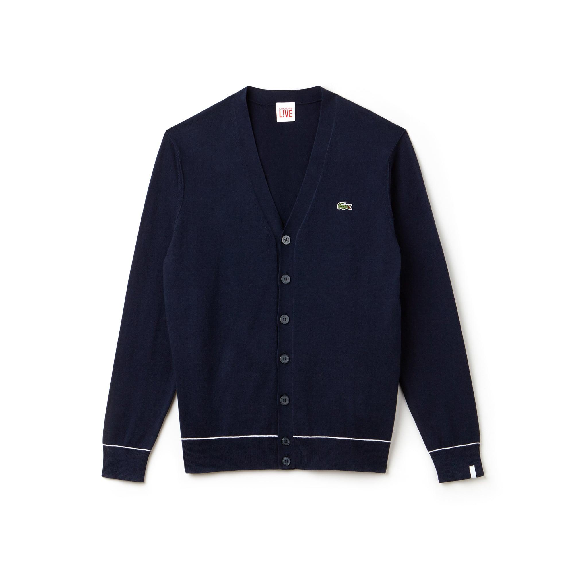 Cardigan Lacoste LIVE en jersey de coton et soie uni