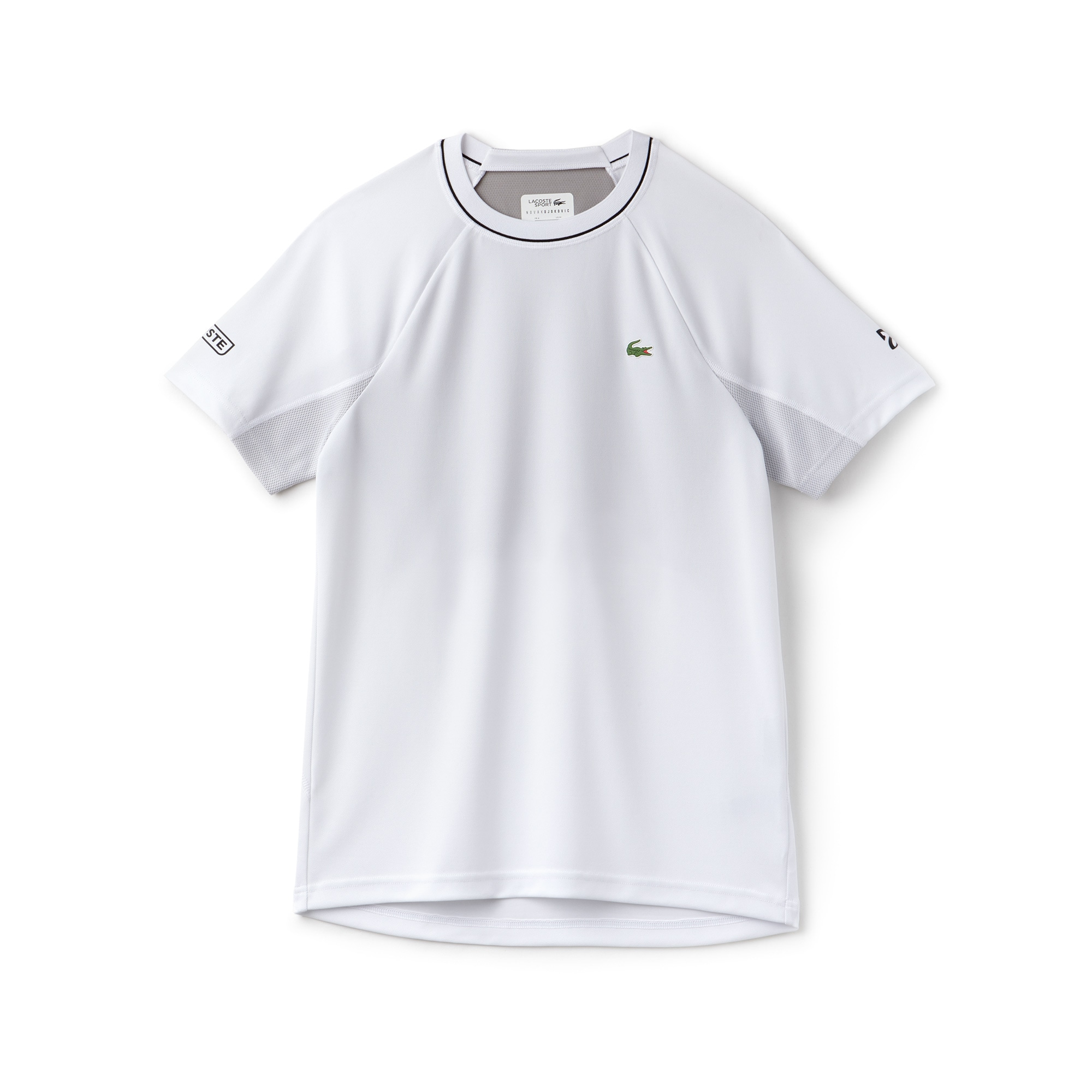 T-shirt col rond Lacoste SPORT COLLECTION NOVAK DJOKOVIC SUPPORT WITH STYLE en piqué technique et mesh