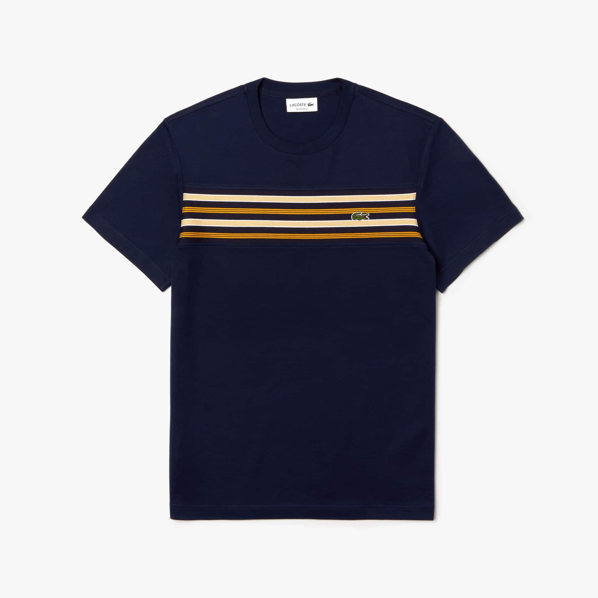 aede8783f T-shirt col rond en coton avec empiècement à rayures contrastées