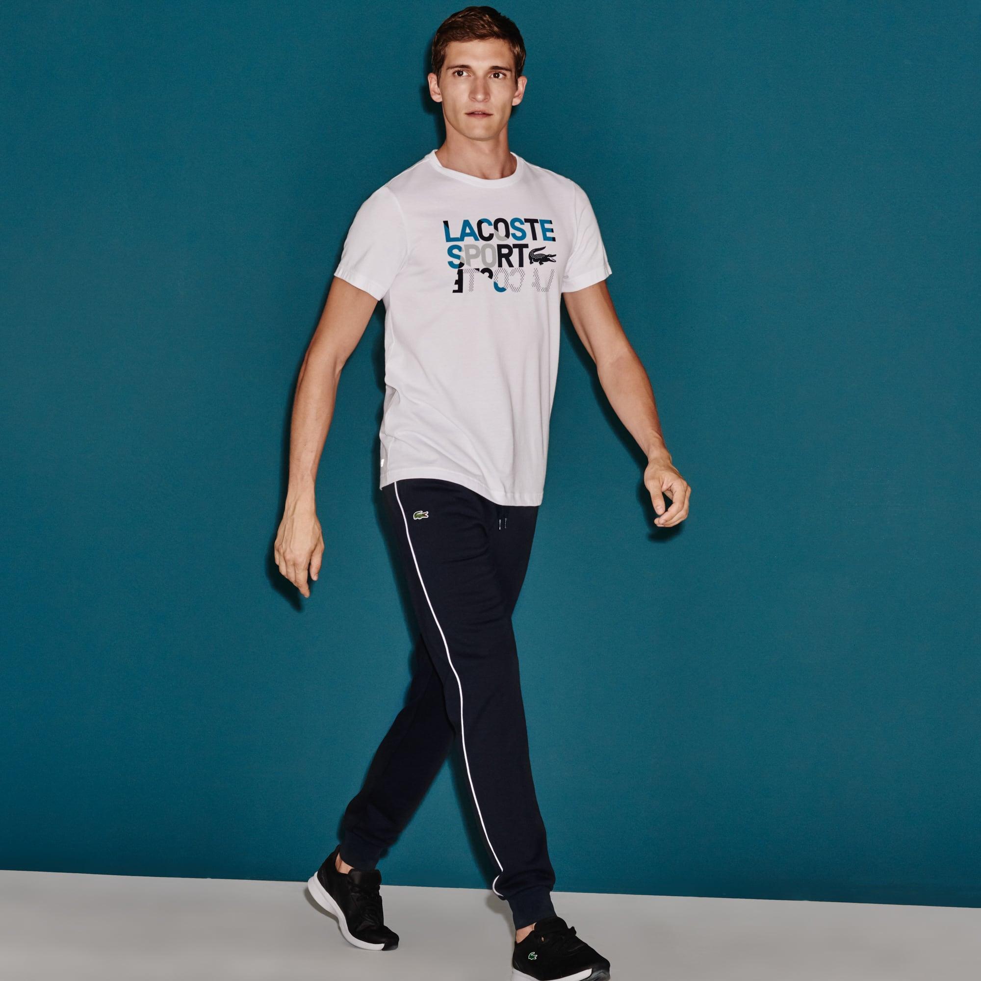 Pantalon de survêtement Tennis Lacoste SPORT en molleton avec piping