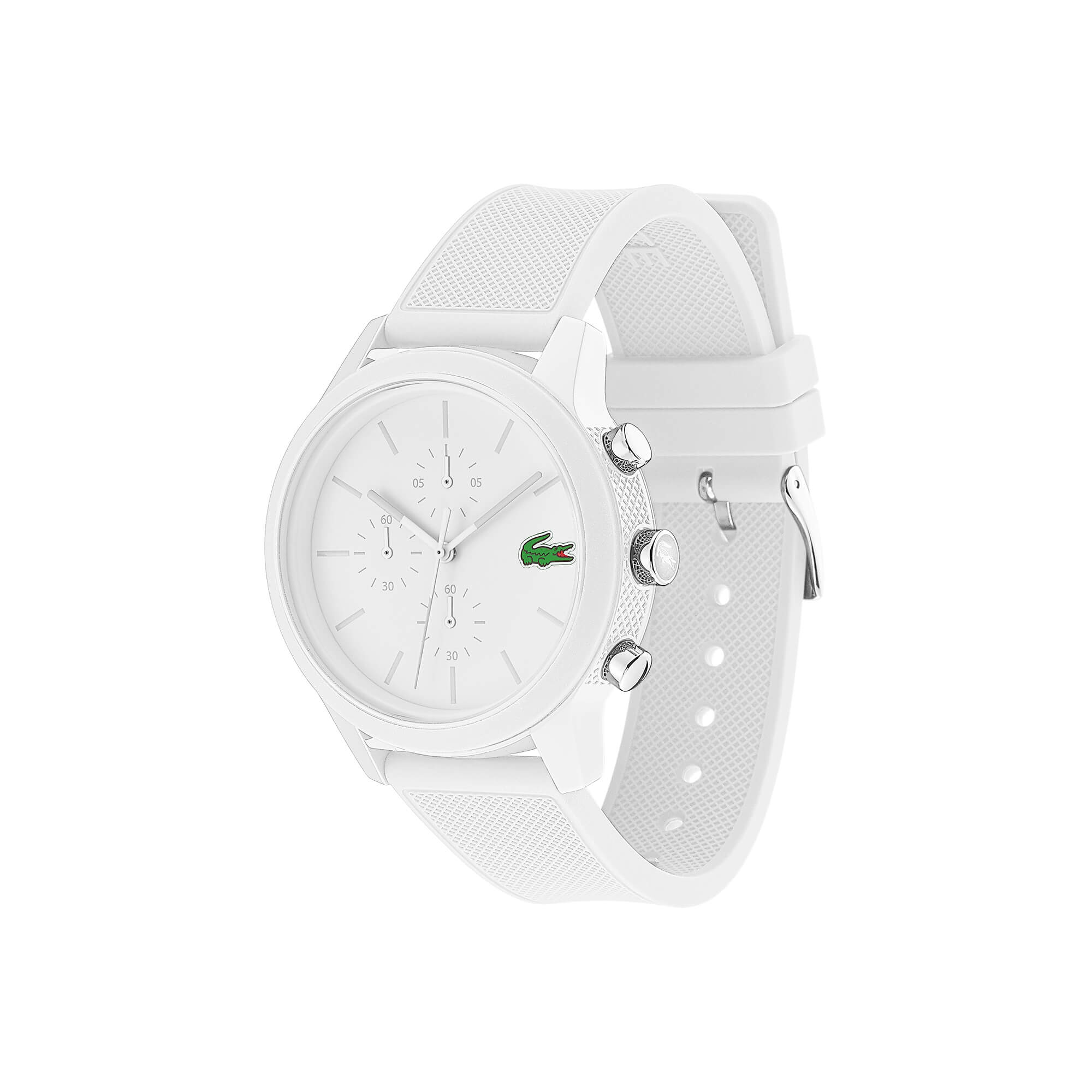 Montre Chrono Lacoste12.12 Homme avec Bracelet Blanc en Silicone