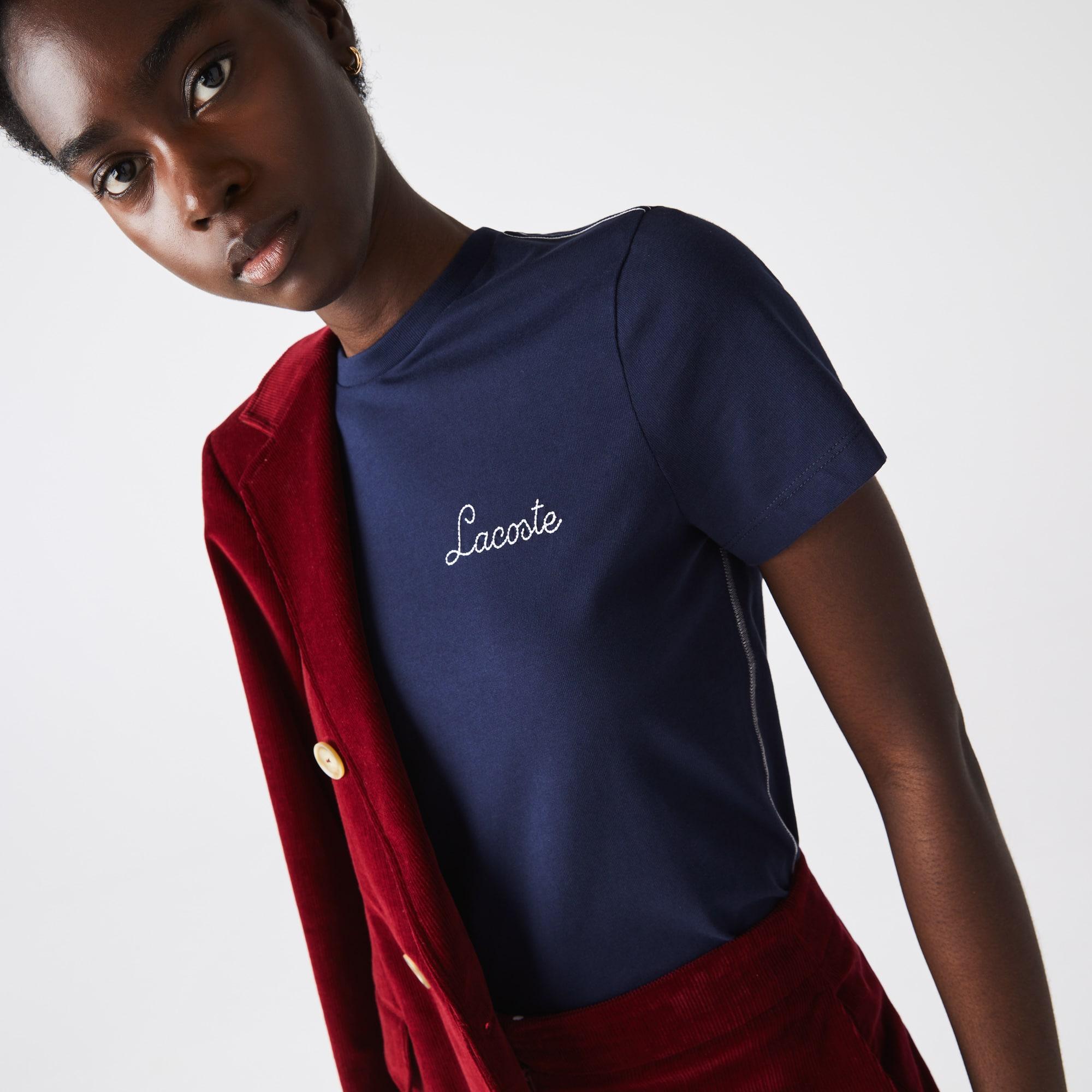 Lacoste T-shirt à col rond en coton avec signature brodée Taille 34 Bleu Marine/blanc