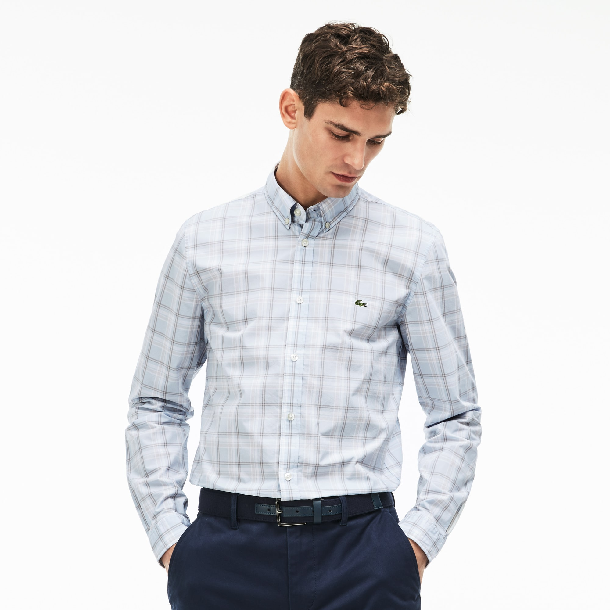 Chemise slim fit en popeline de coton à grands carreaux