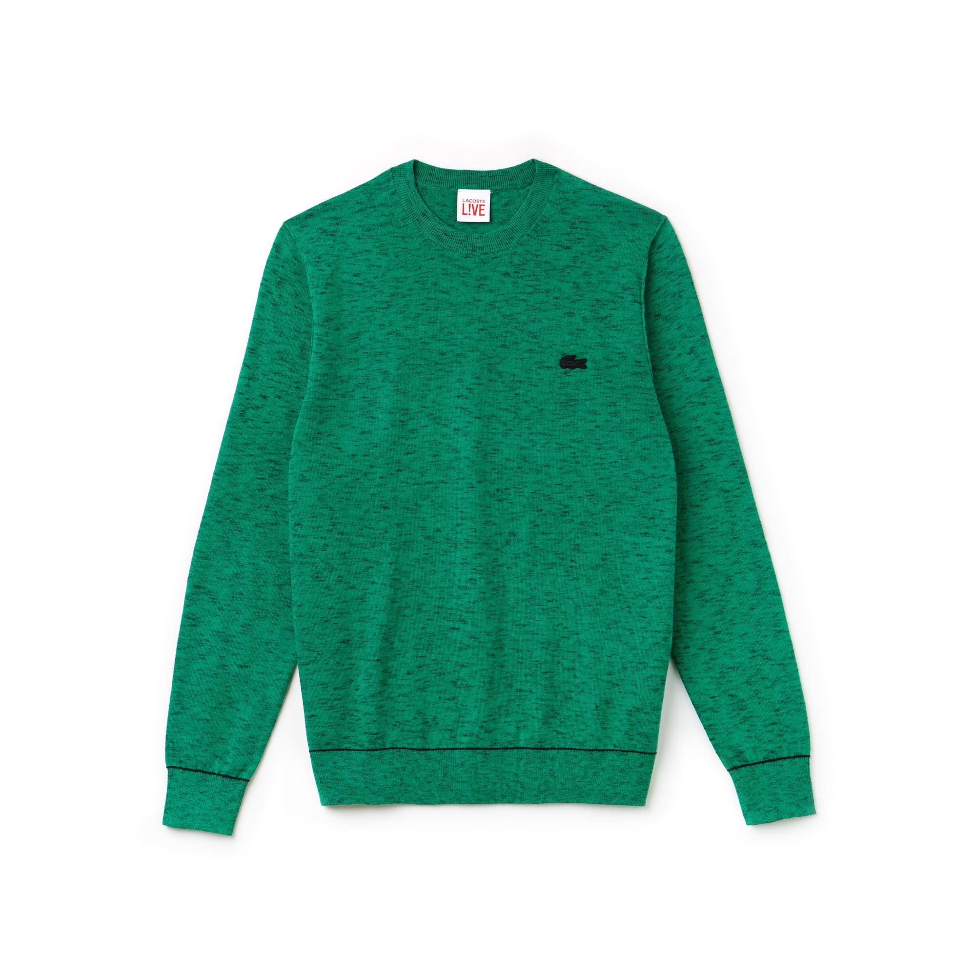 Pull col rond Lacoste LIVE en jersey de coton et cachemire avec piping