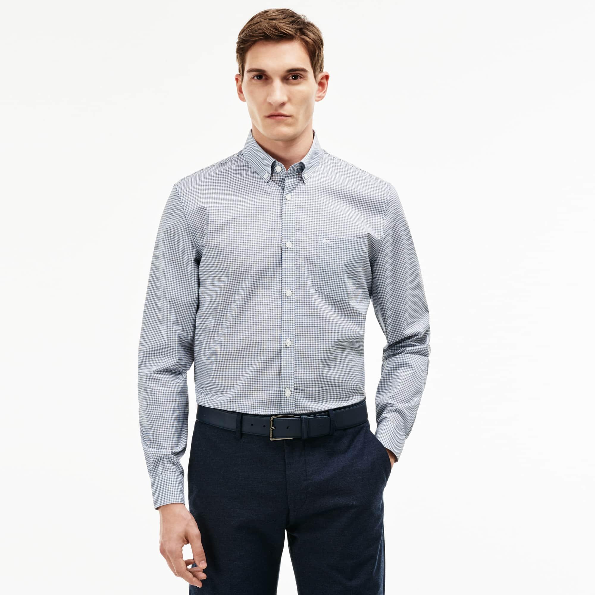 Chemise regular fit en popeline à mini carreaux