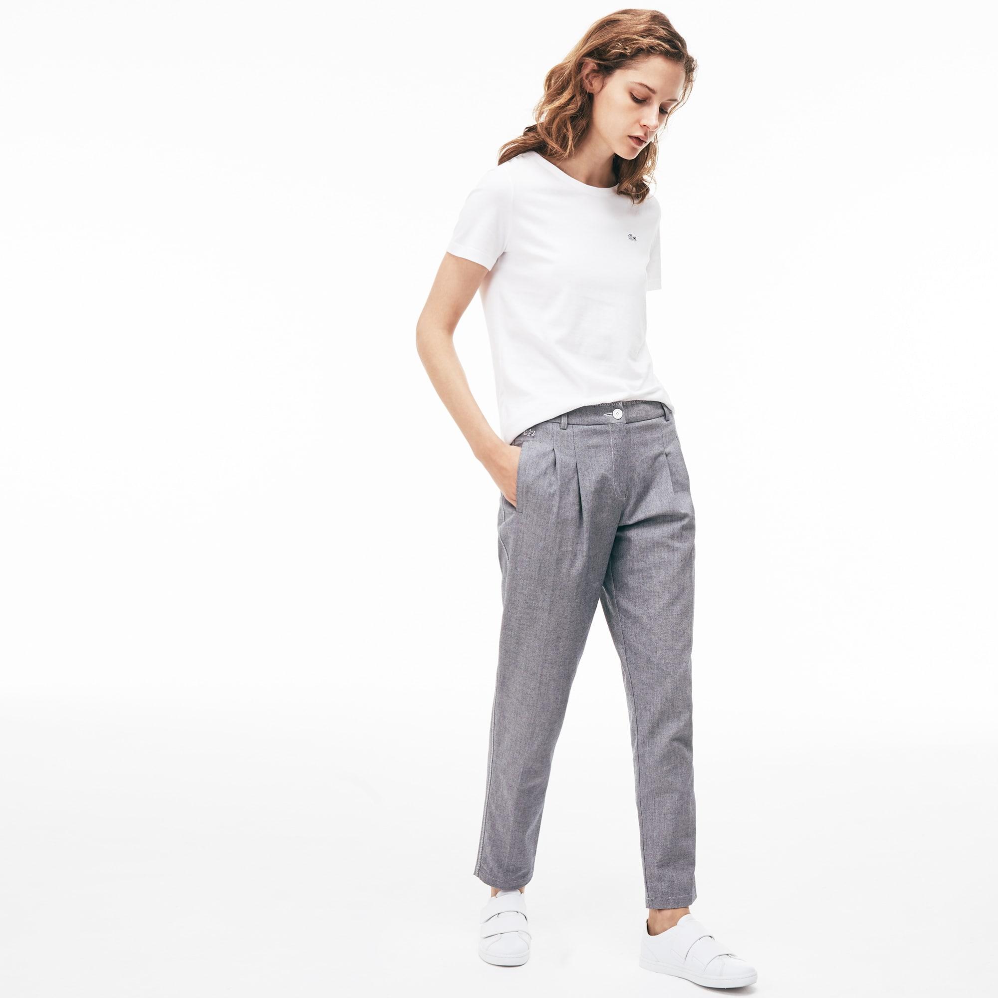 Pantalon carotte à pinces en toile de coton stretch uni