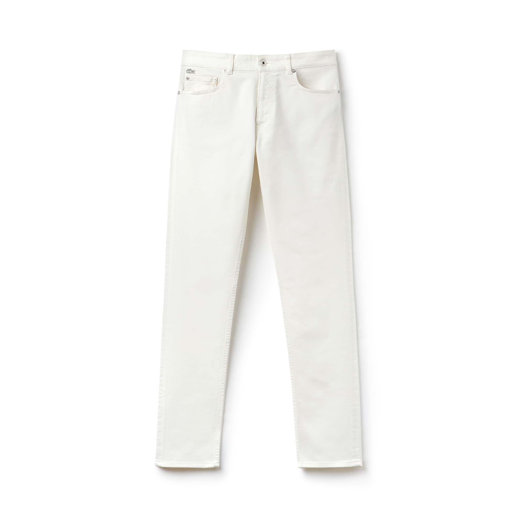 Pantalon 5 poches slim fit en twill de coton stretch uni