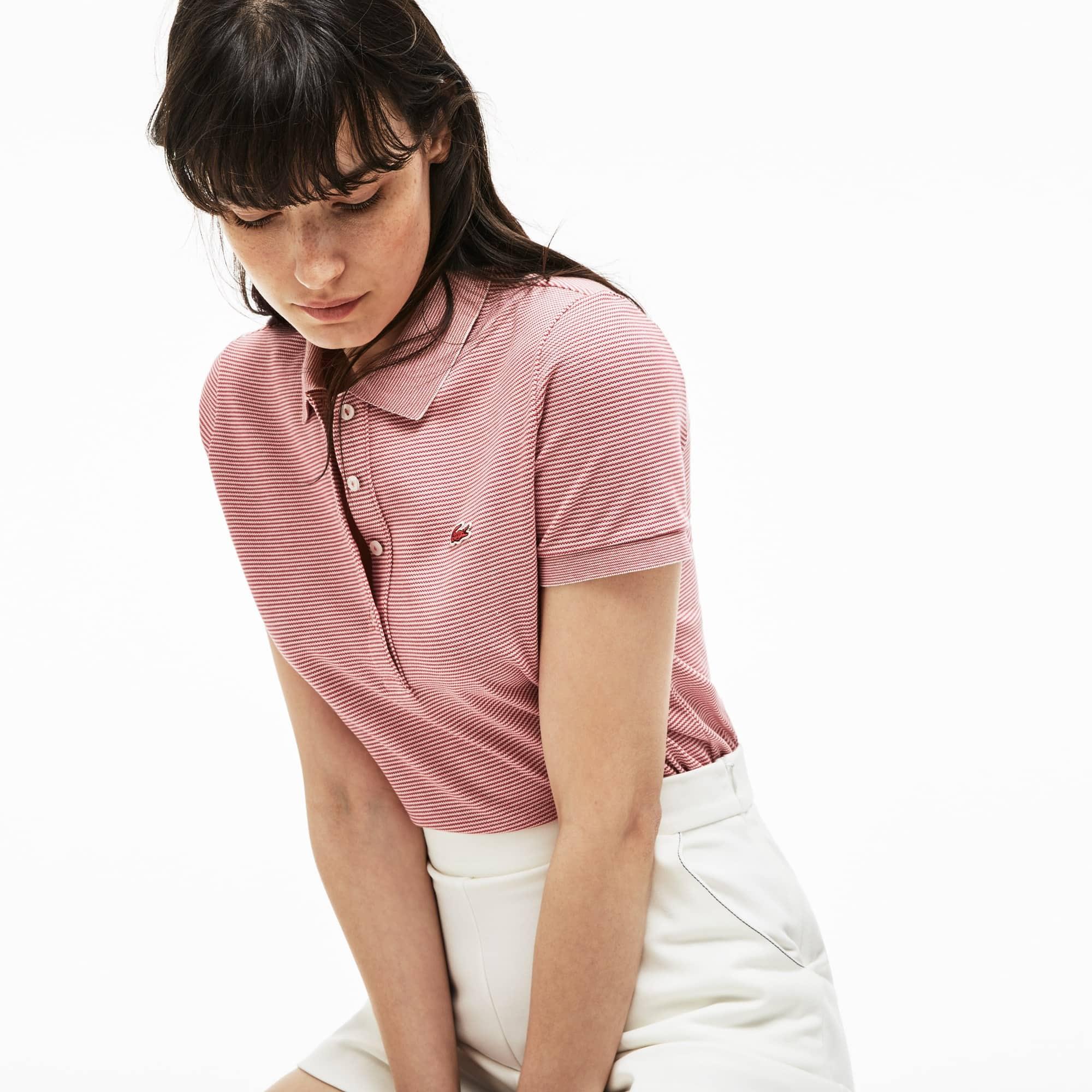 Polo slim fit Lacoste en mini piqué stretch à rayures milleraie
