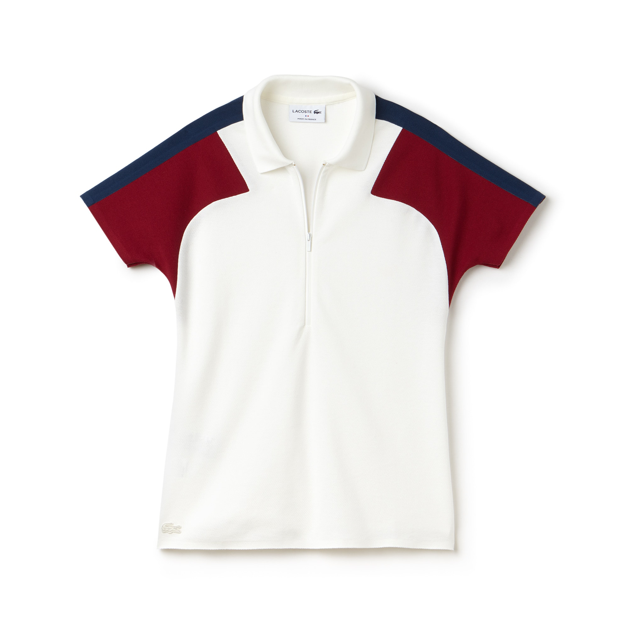 Polo col zippé slim fit Lacoste Made in France en piqué color block