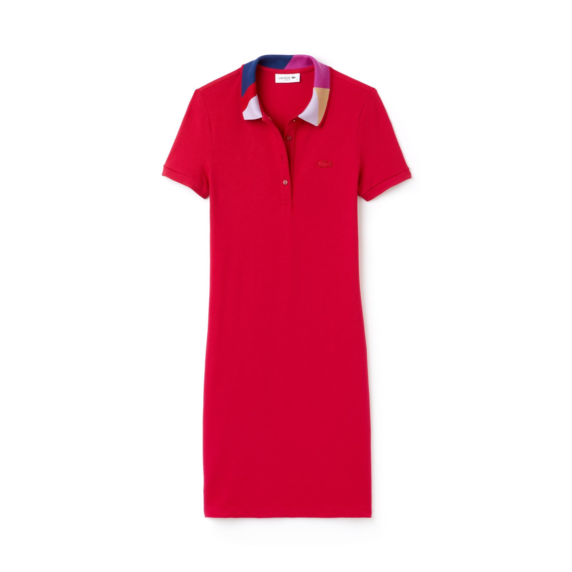 Robe polo slim fit en mini piqué avec col jacquard color block