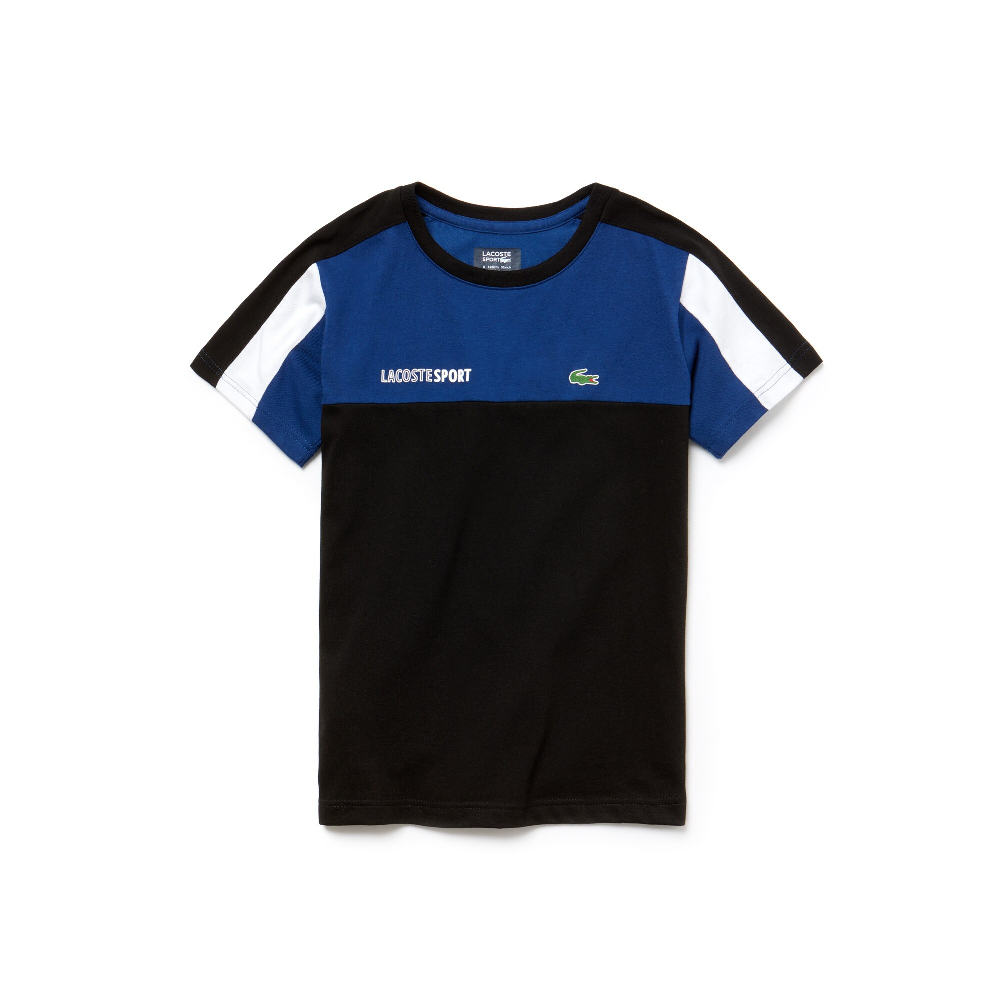 T-shirt col rond Garçon Tennis Lacoste SPORT en jersey technique color block