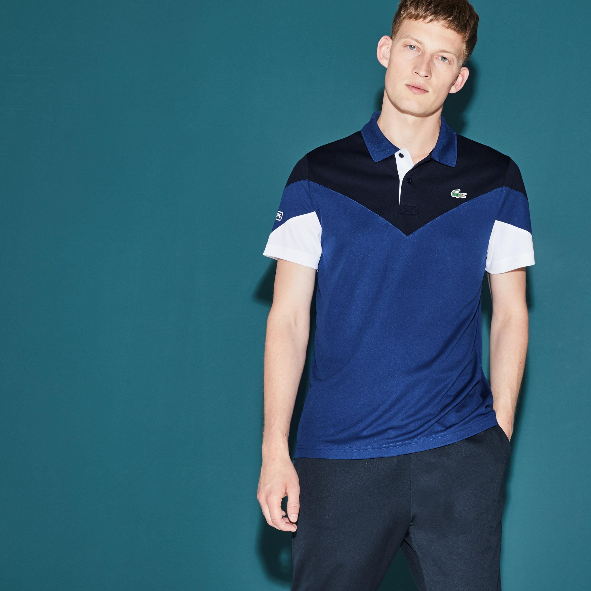 Polo Tennis Lacoste SPORT en piqué technique color block