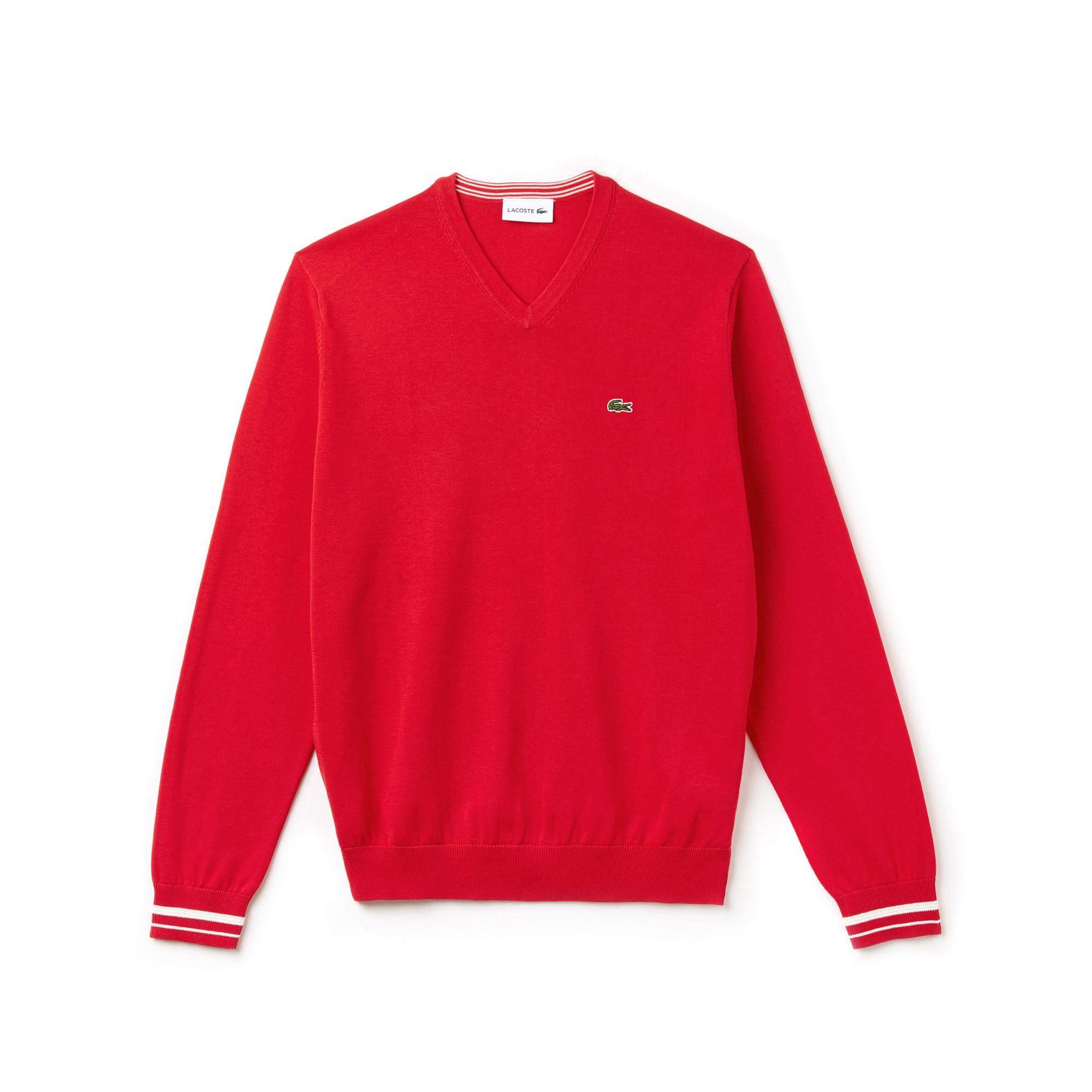 Pull col V en jersey de coton uni avec détails contrastés