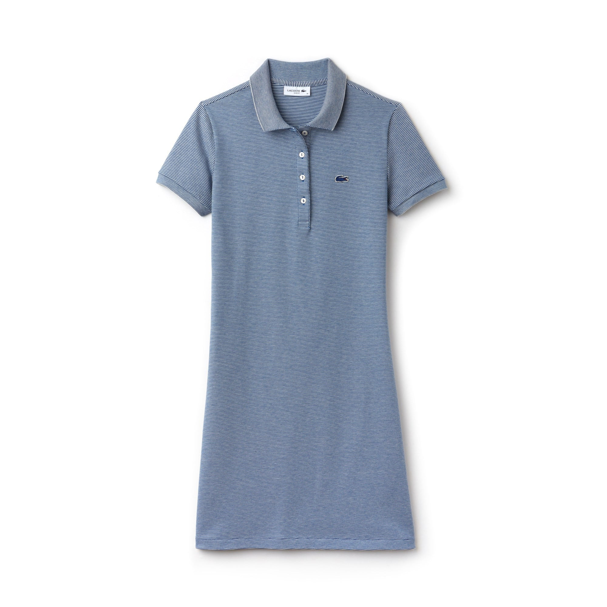 Robe polo slim fit en mini piqué stretch milleraies