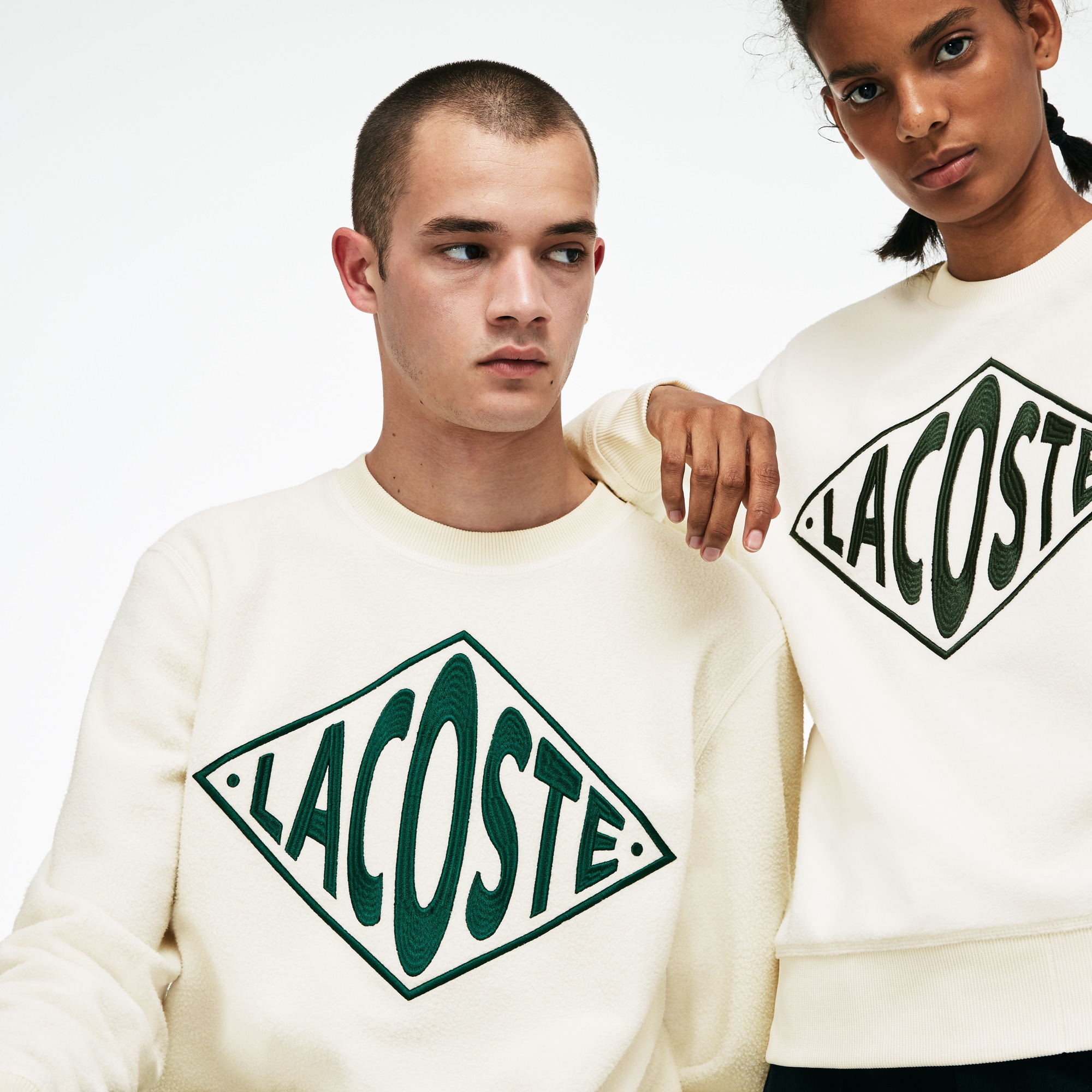 Sweatshirt col rond unisexe Lacoste LIVE en polaire avec broderie oversize