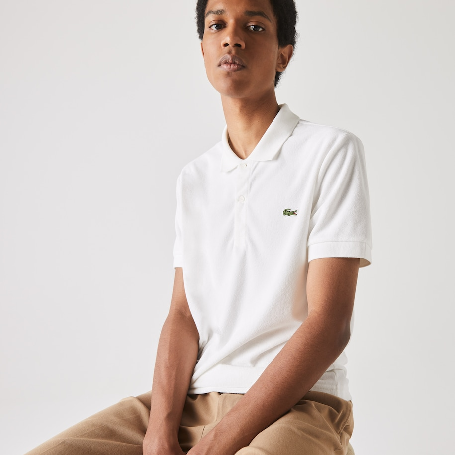 Polo Lacoste regular fit en molleton de coton mélangé uni