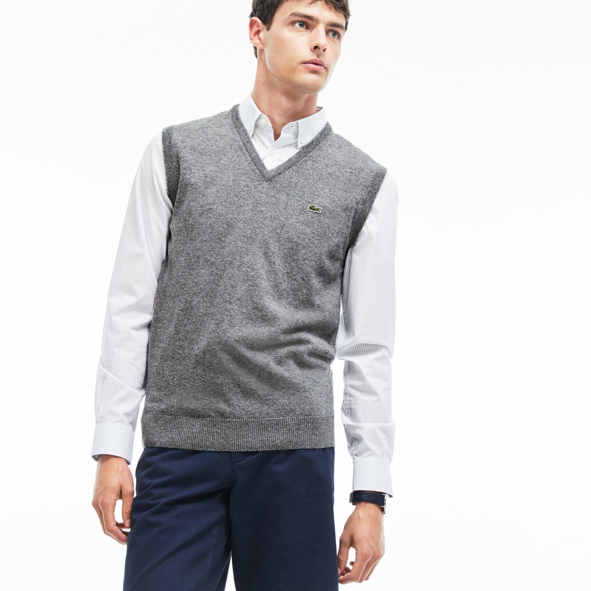 Pull col V sans manches en jersey de laine uni
