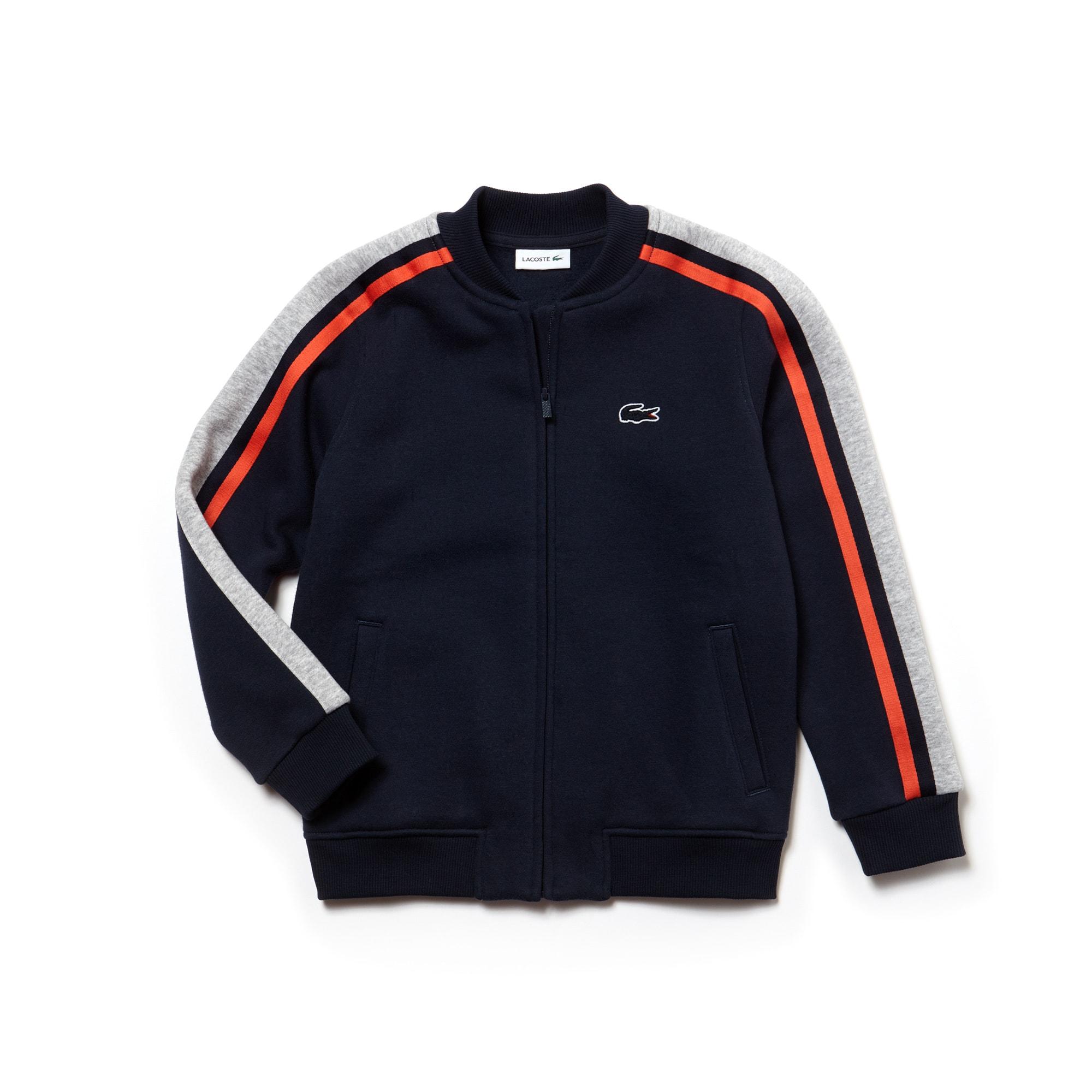 Sweatshirt Teddy Garçon en molleton avec rayures contrastées