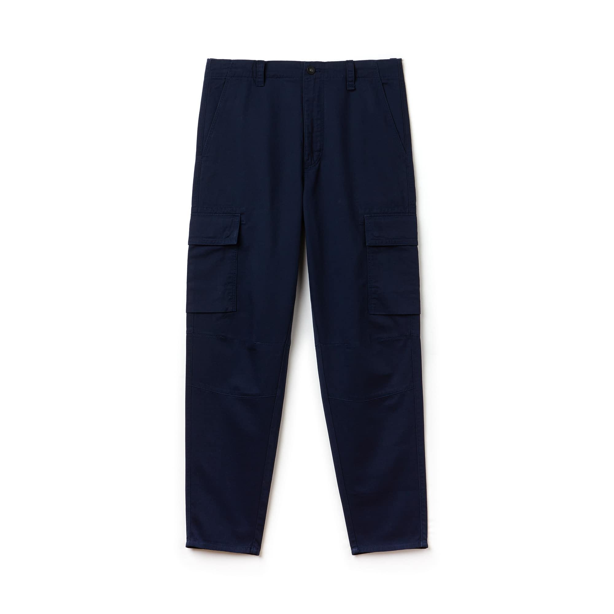 Pantalon cargo en twill de coton uni