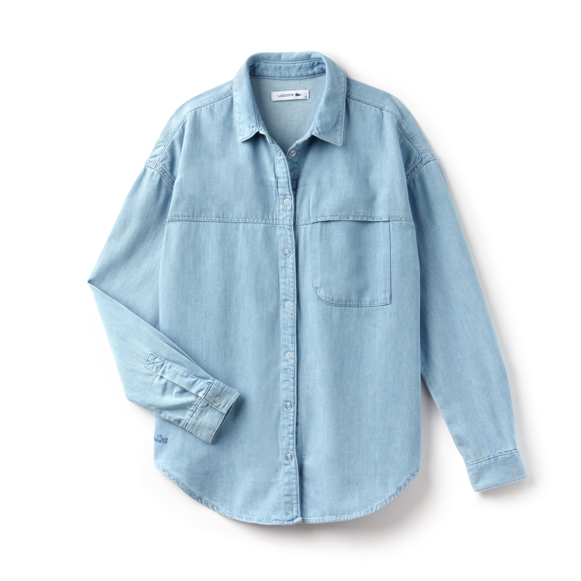 Chemise regular fit en denim de coton