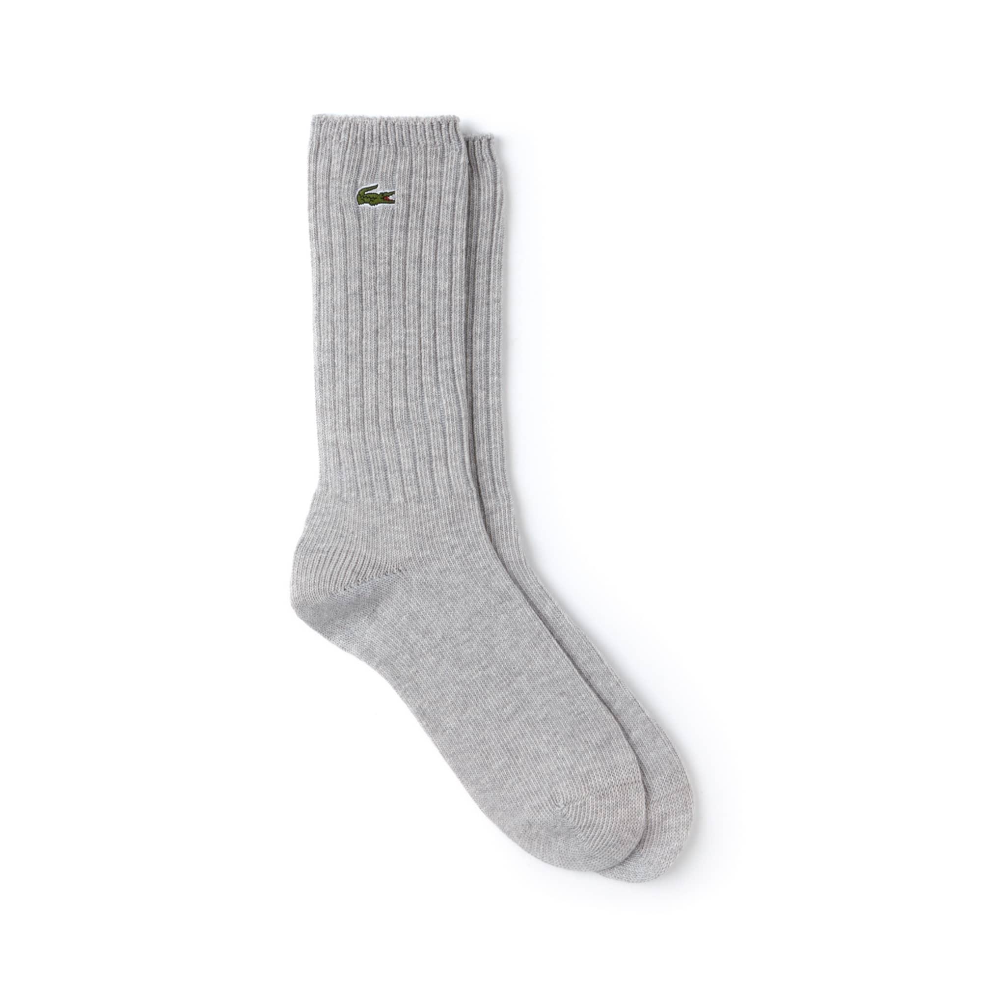 Chaussettes en coton stretch uni à côtes