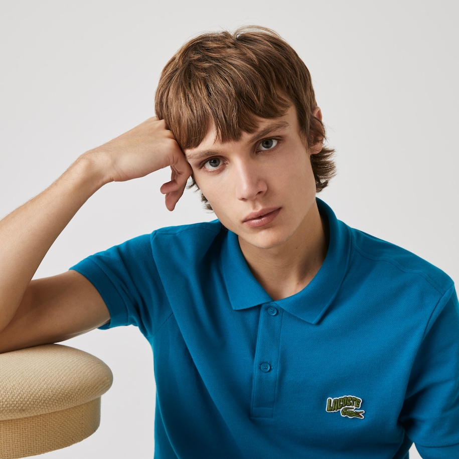 Polo Lacoste regular fit en piqué de coton avec badge brodé