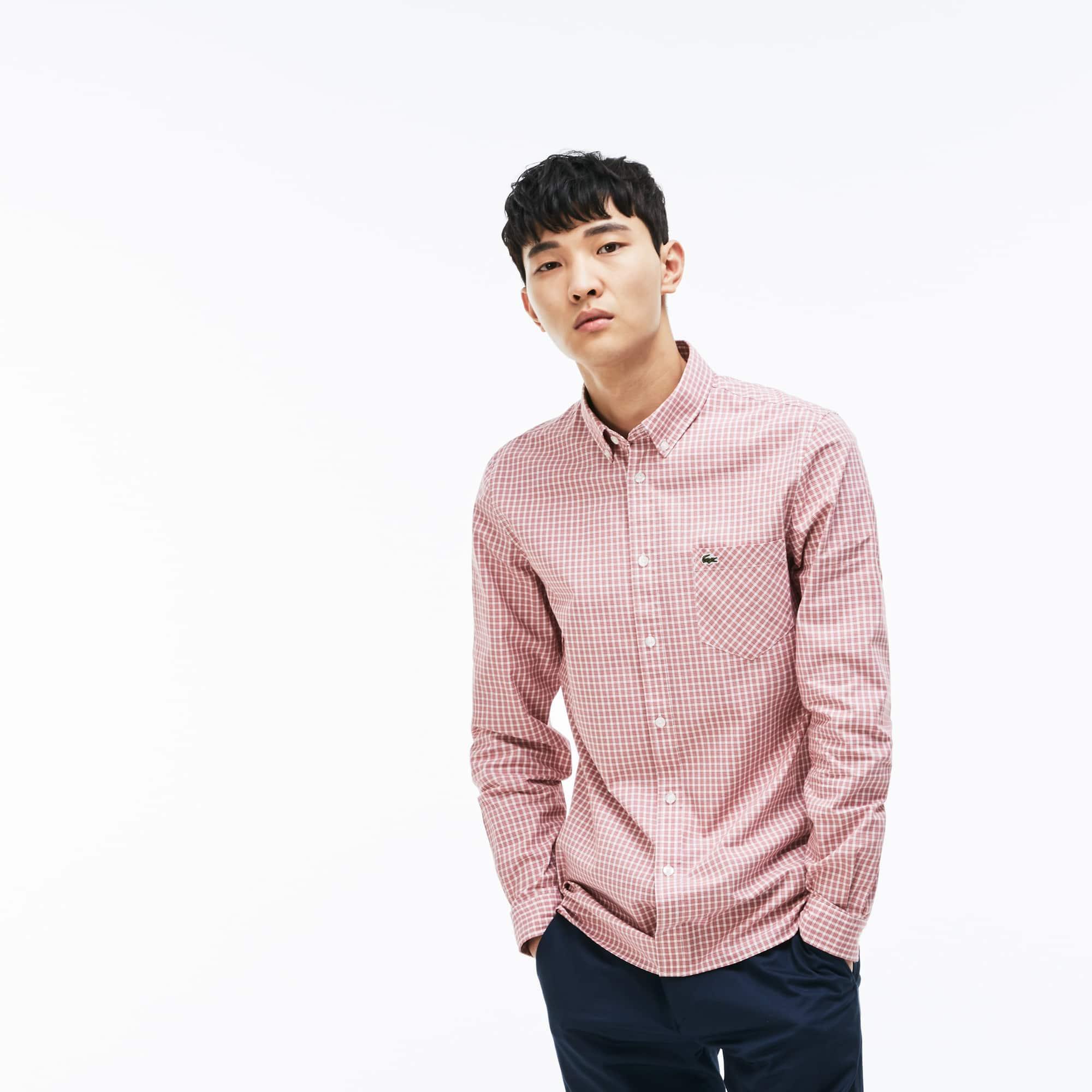 Chemise slim fit en popeline de coton stretch à carreaux bicolores