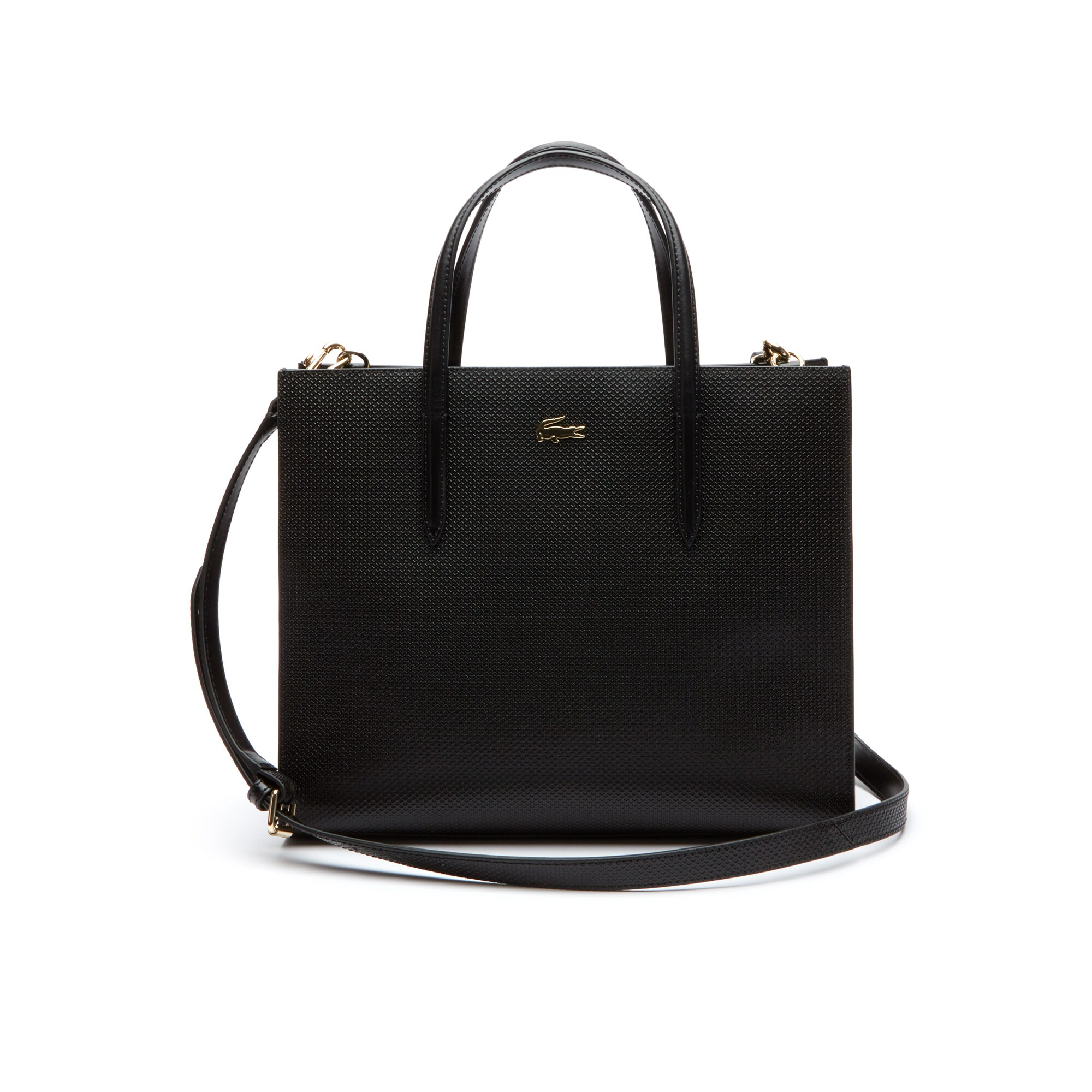Grand sac cabas zippé Chantaco double porté en cuir piqué uni