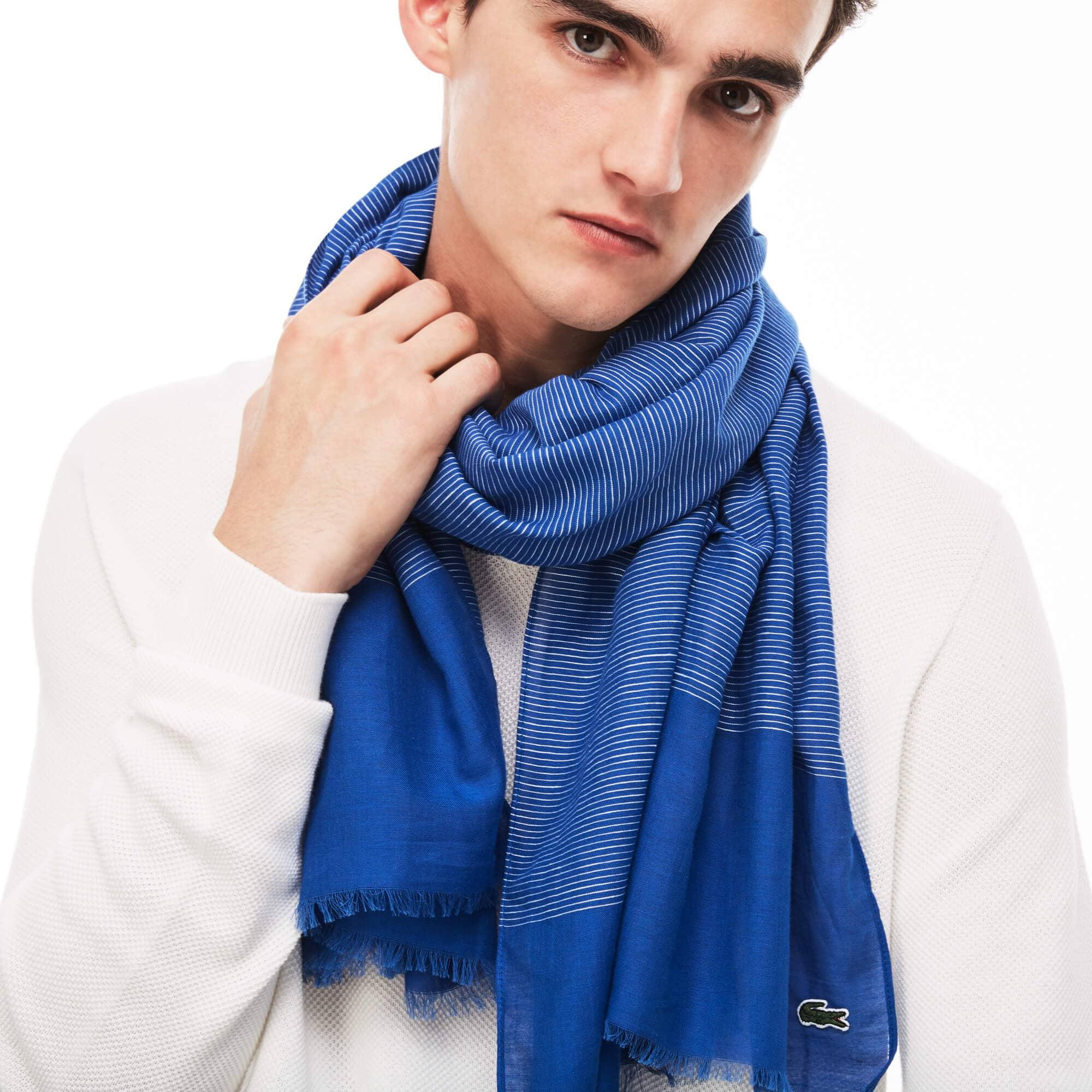 Écharpe en voile de coton et lin à rayures