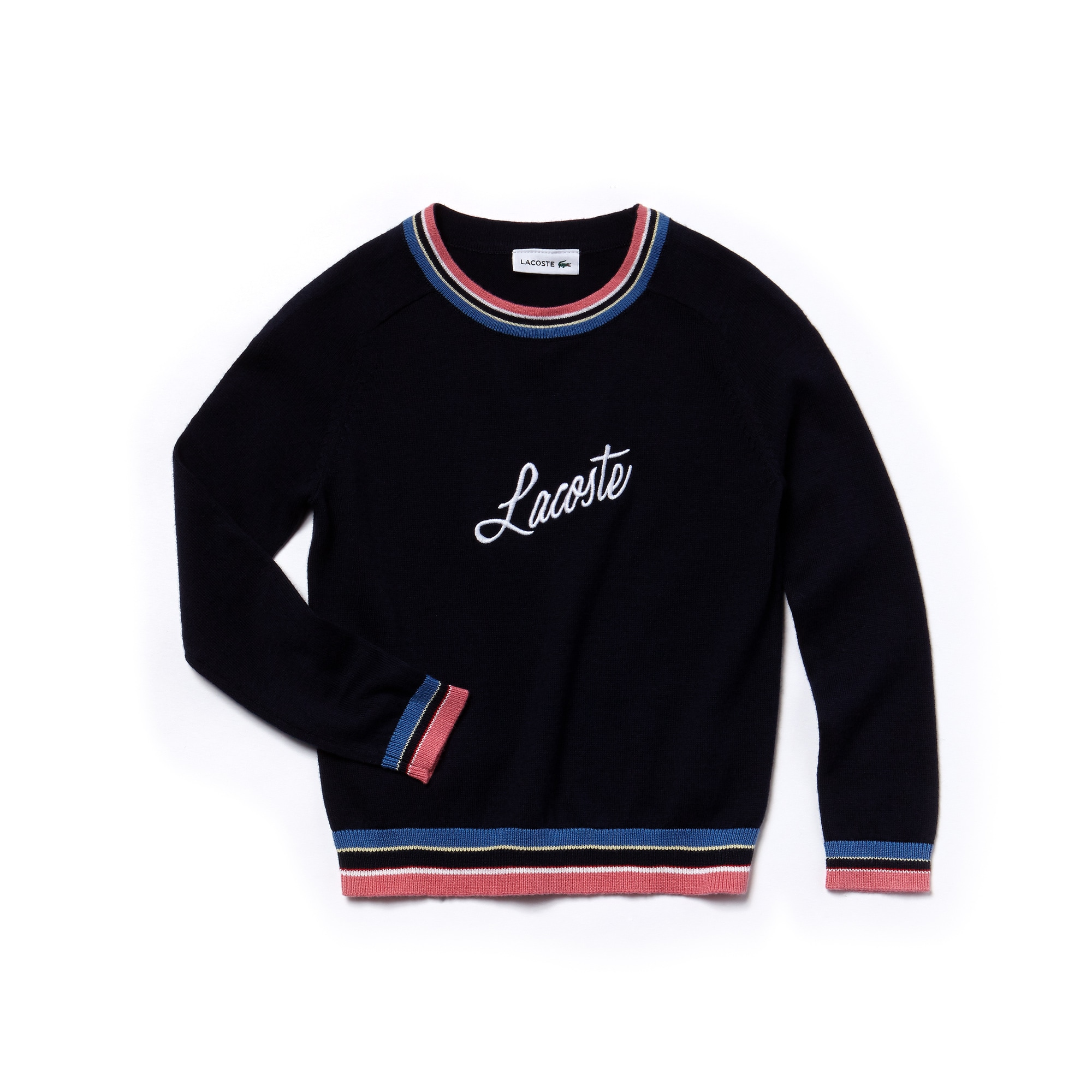 Pull col rond Fille en jersey avec broderie LACOSTE