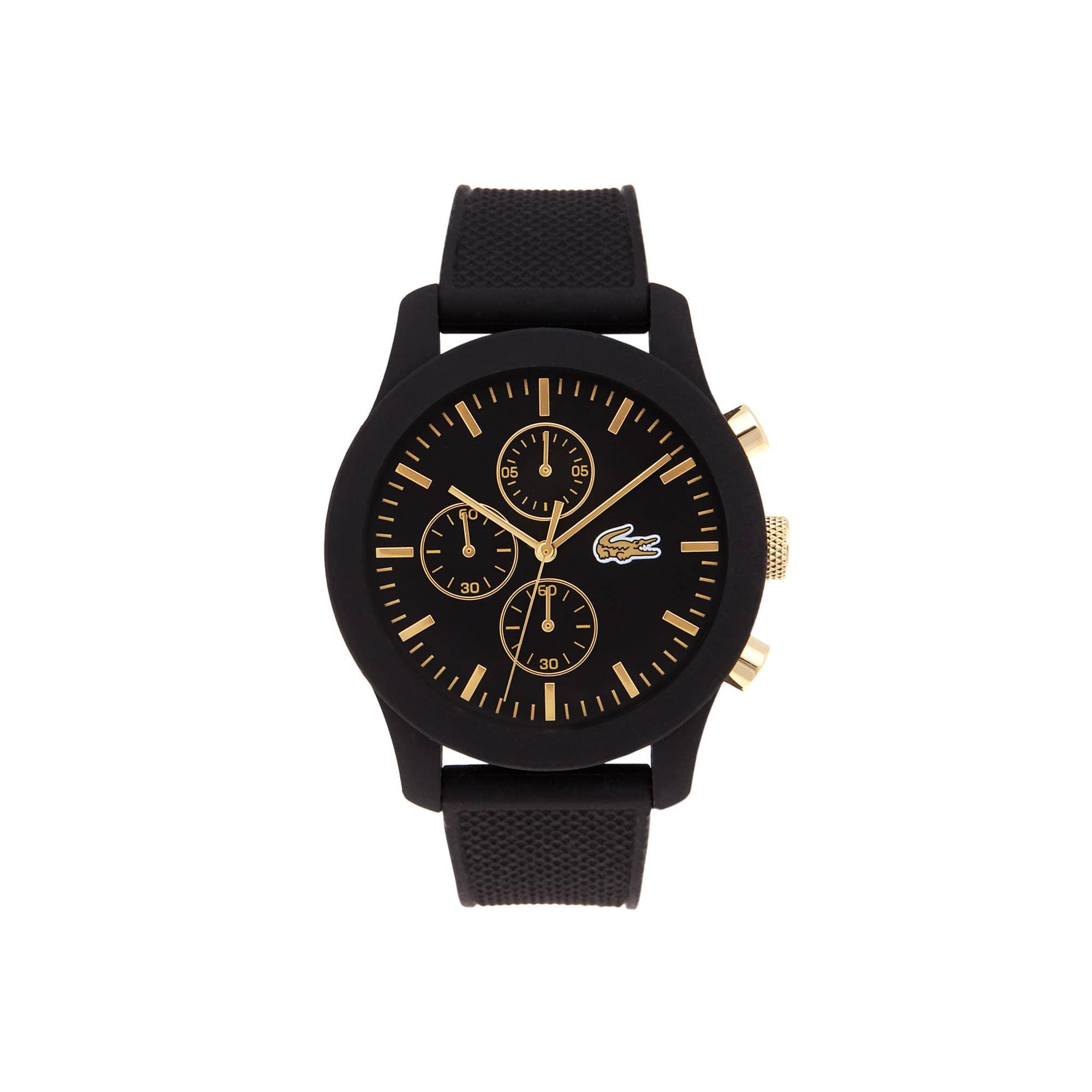 Montre Lacoste.12.12 chronographe avec bracelet noir en silicone et détails dorés jaune sur le cadra