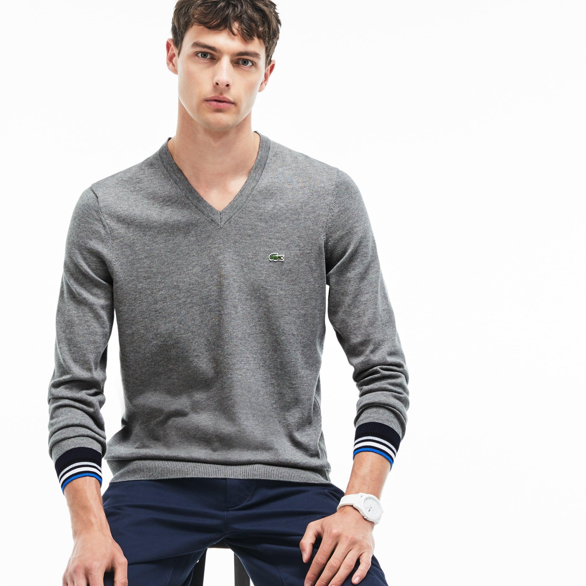 Pull col V en jersey avec finitions contrastées