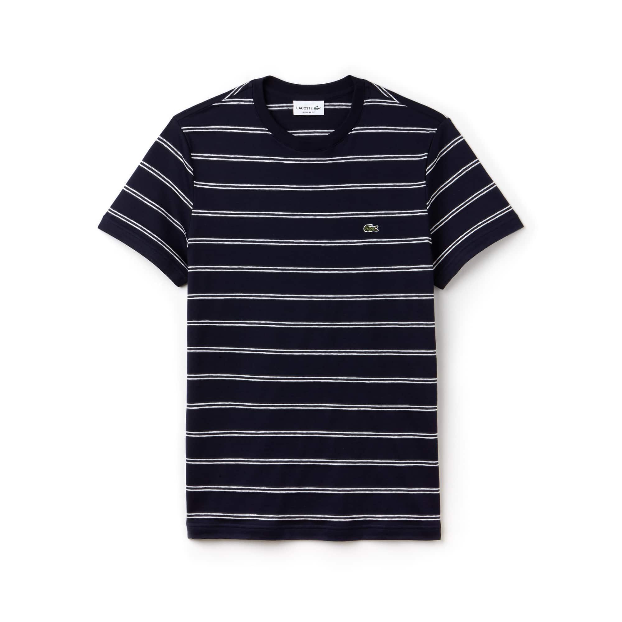 T-shirt col rond en jersey de coton et lin à rayures