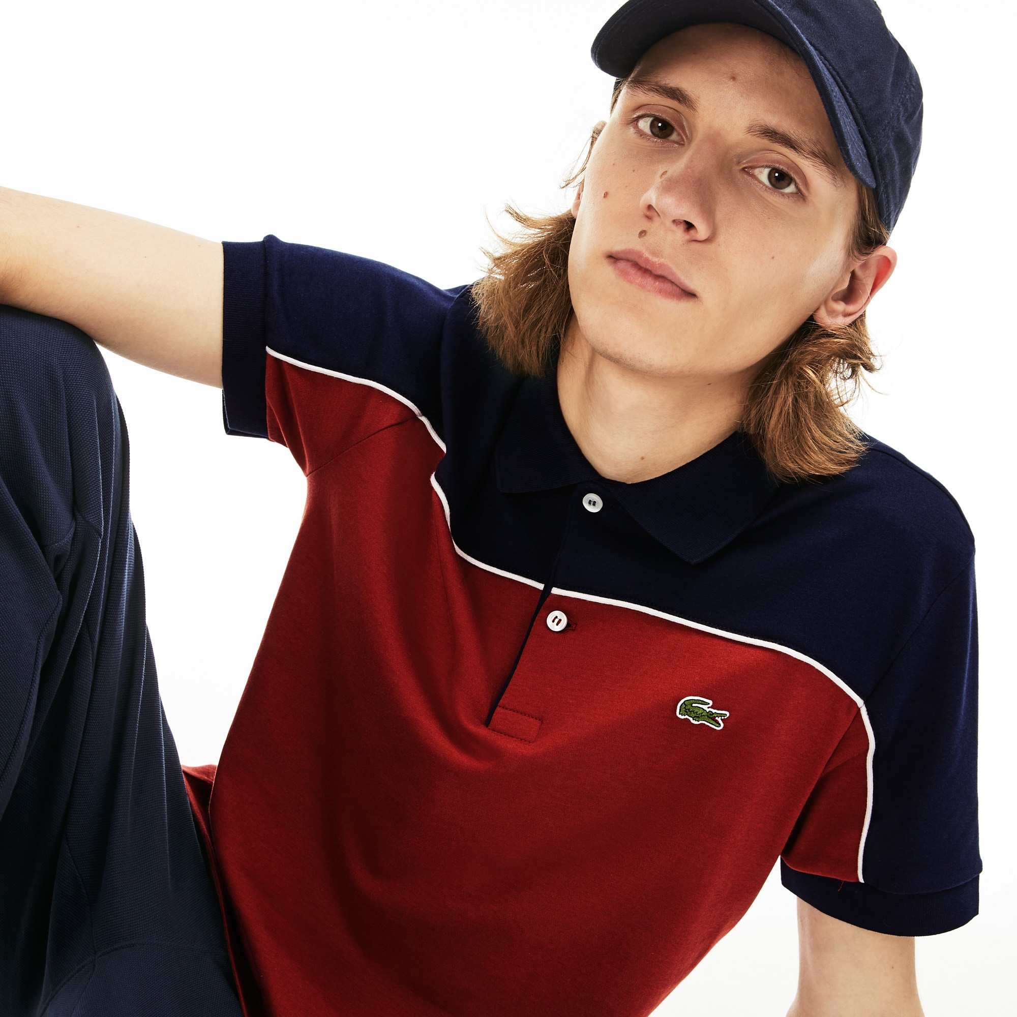 Polo regular fit Lacoste en coton color-block avec piping Taille 5 - L Marron / Bleu Marine