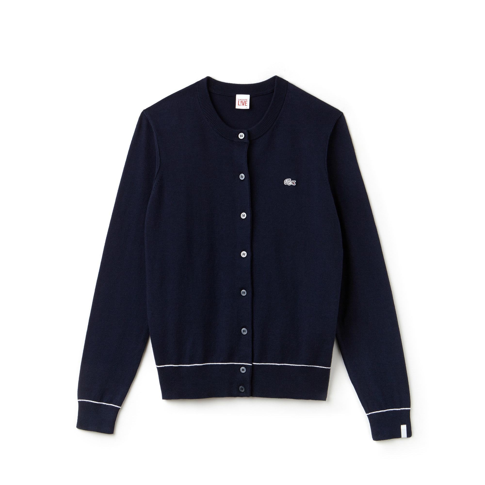 Cardigan col rond Lacoste LIVE en jersey de coton et soie uni