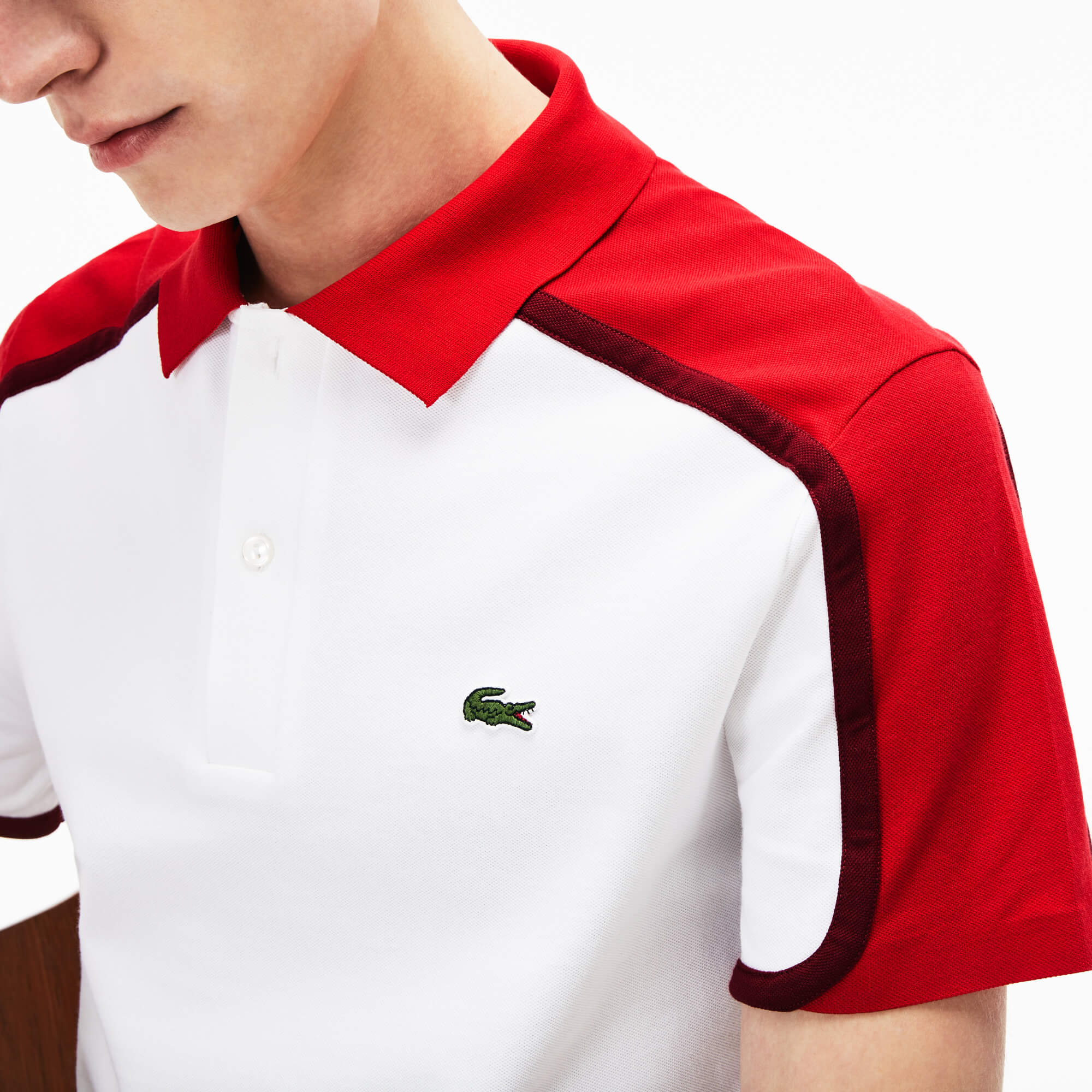 Polo slim fit Lacoste Made in France en piqué technique color block