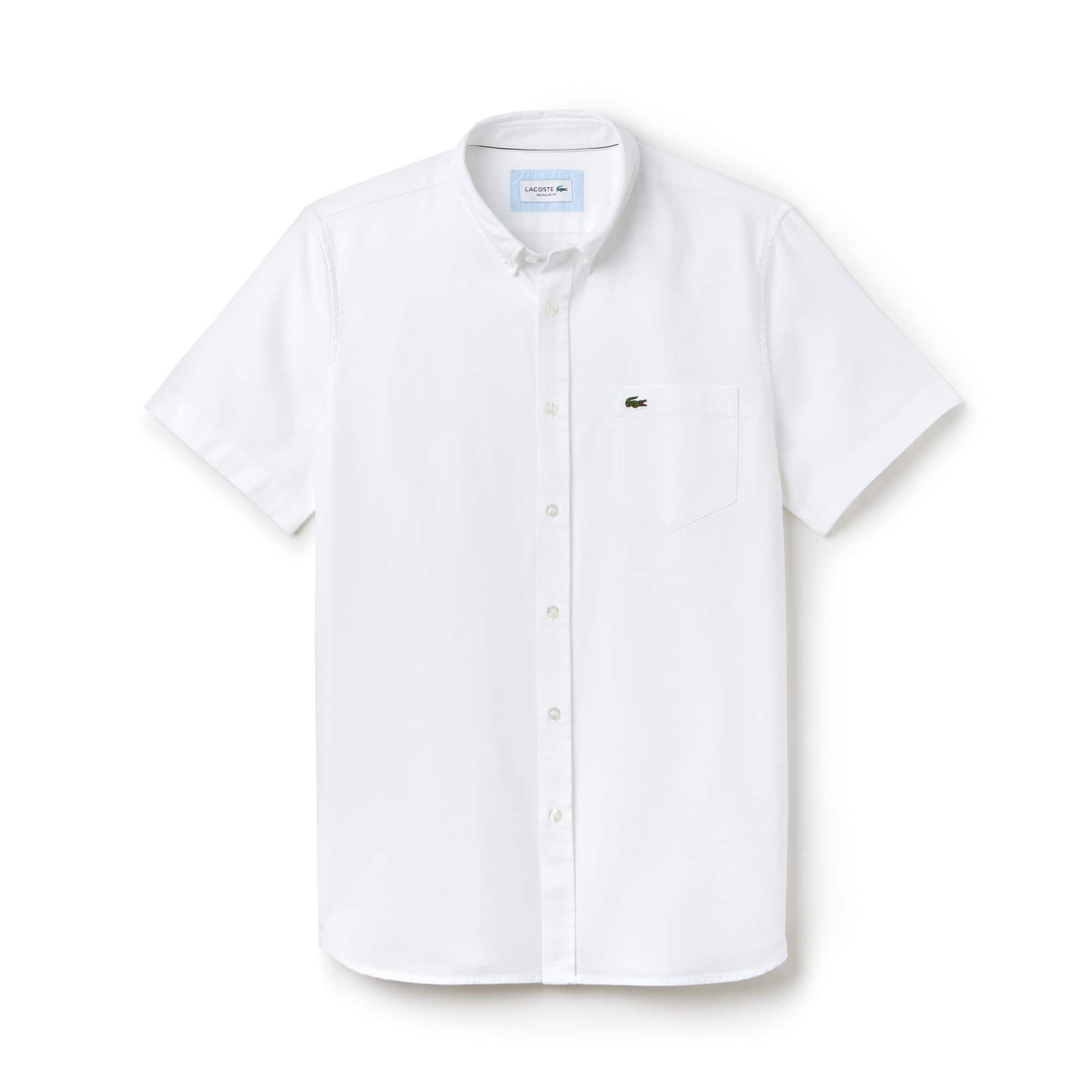 Chemise regular fit à manches courtes en piqué uni