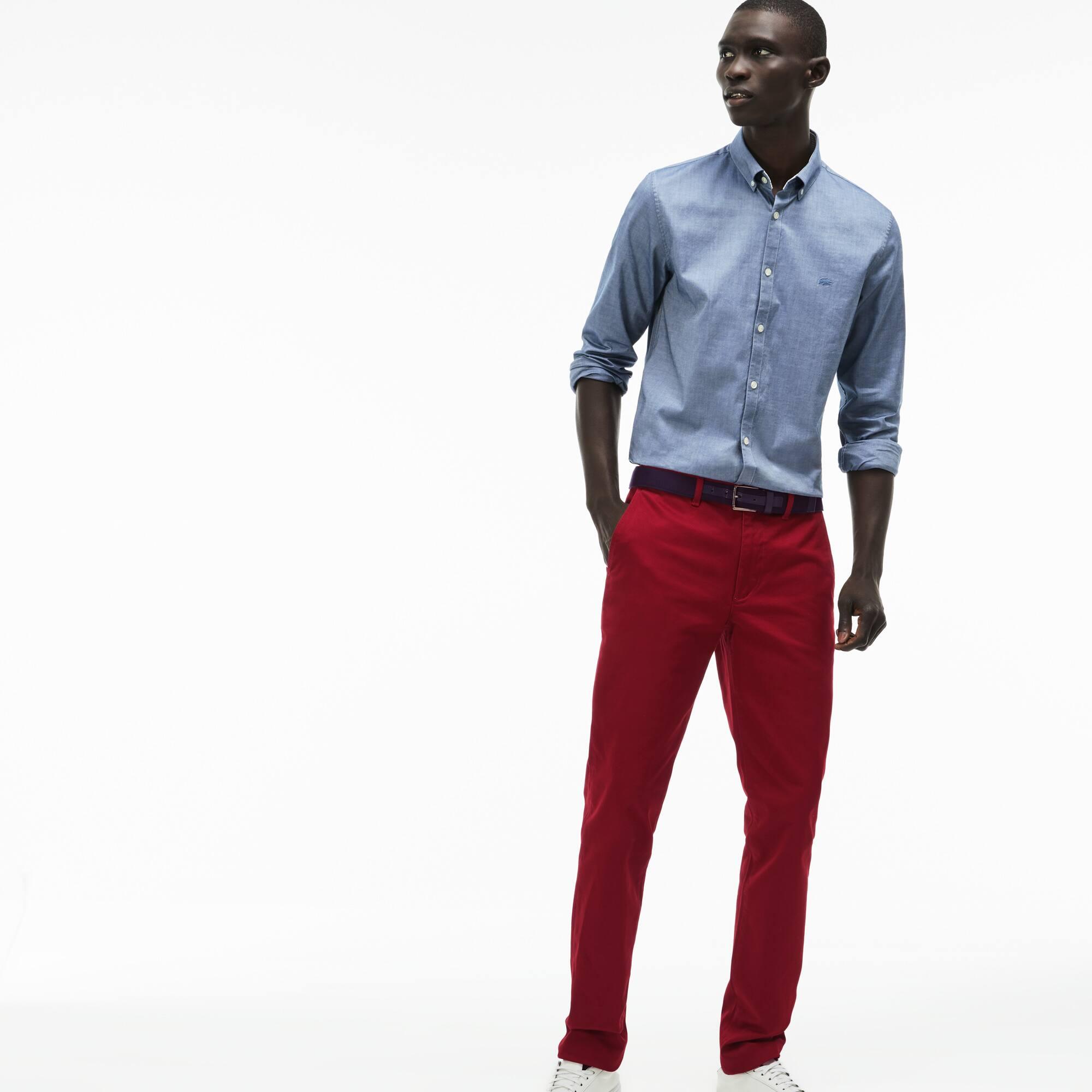 Pantalon chino slim fit en twill de coton Pima stretch uni