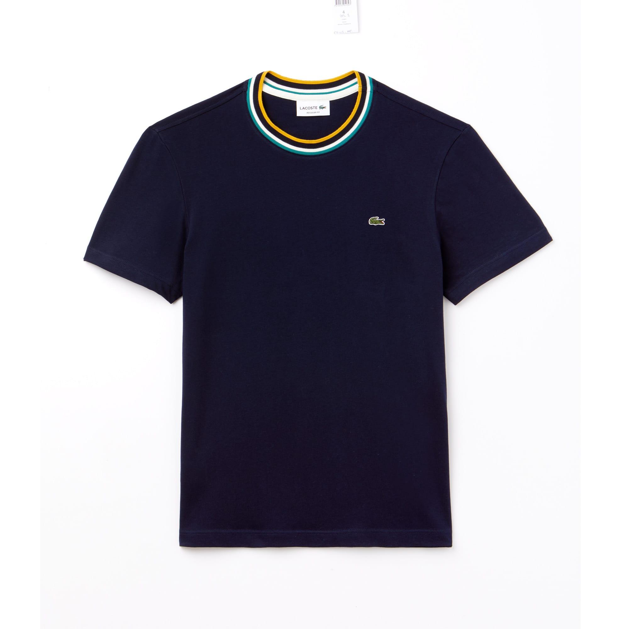 T-shirt col rond rayé bord-côte en jersey de coton uni