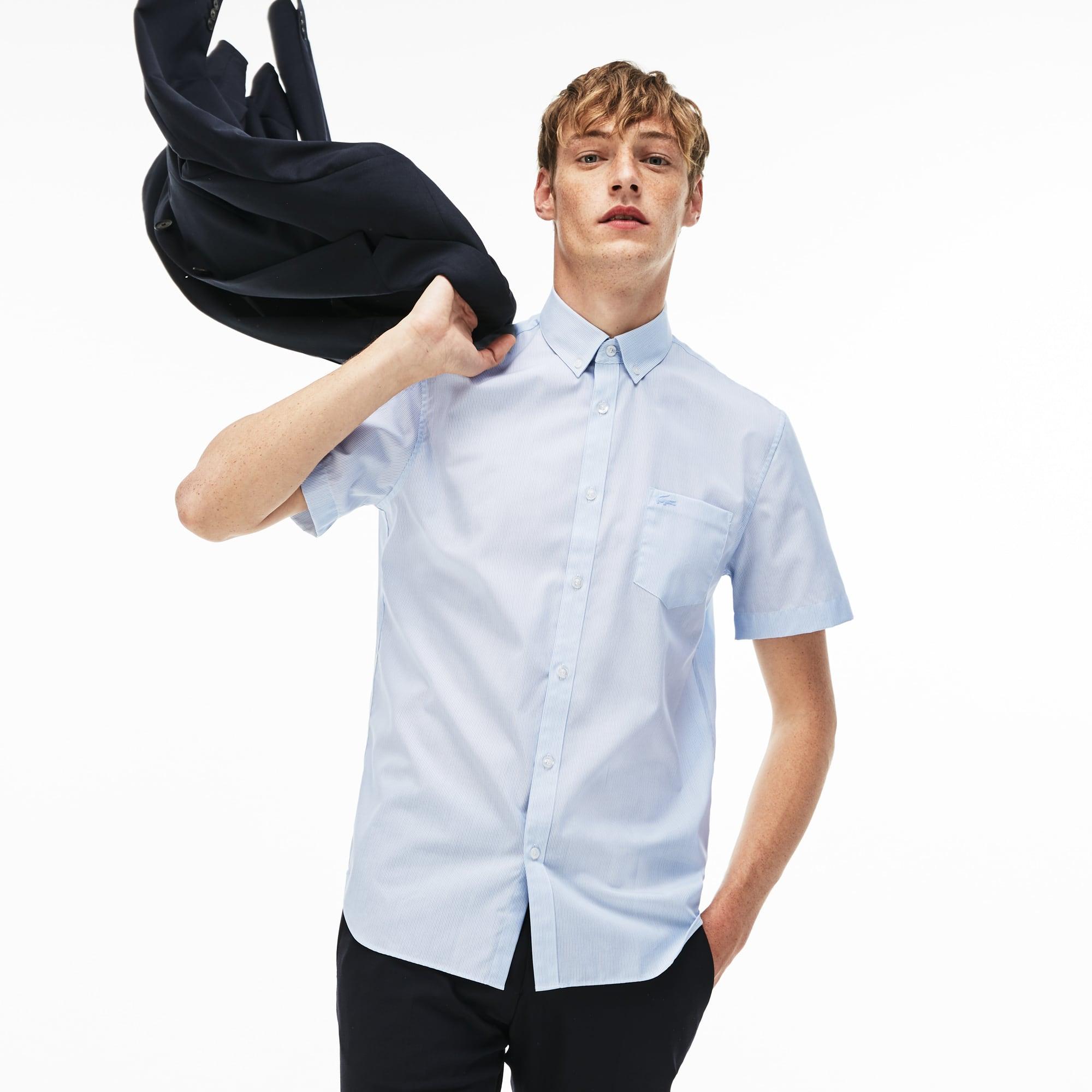 Chemise regular fit à manches courtes en popeline de coton rayée