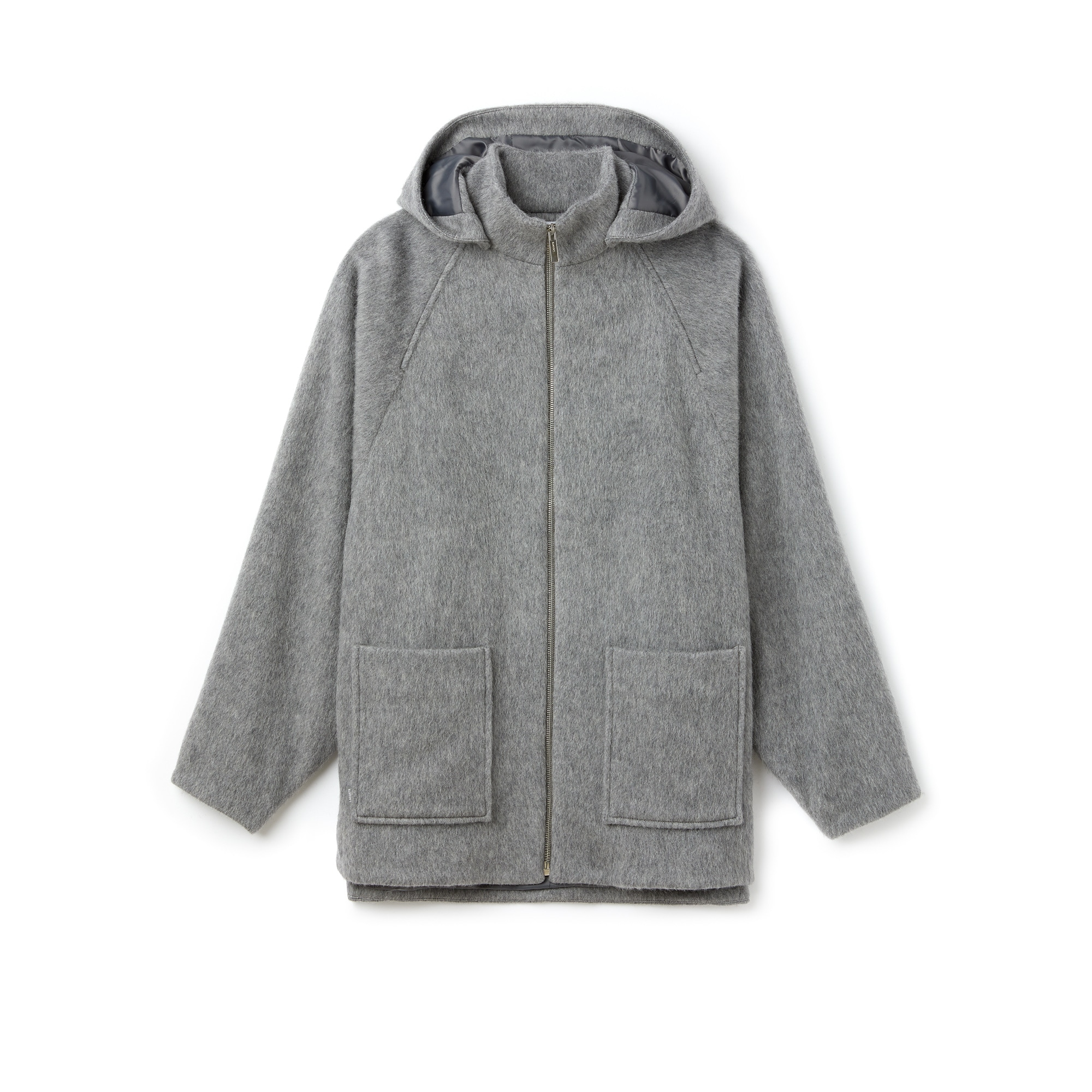 Manteau court en drap de laine et mohair uni
