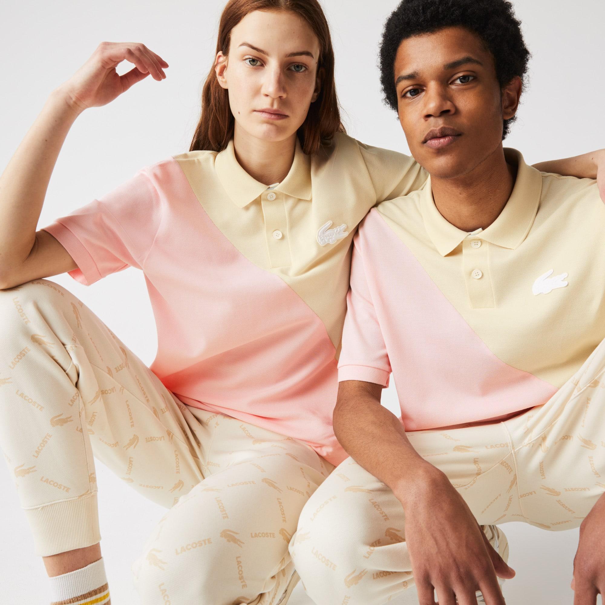 Polo Lacoste LIVE loose fit unisexe en piqué de coton color-block Taille 8 - 3XL Beige / Rose Pale