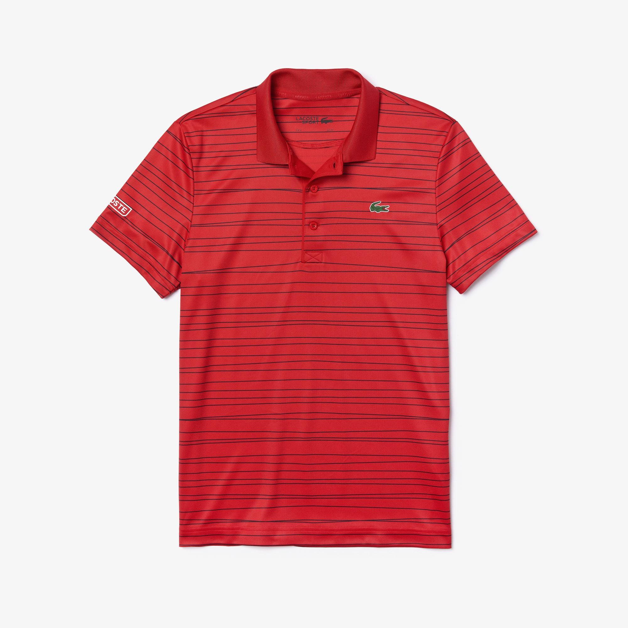Polo Tennis Lacoste SPORT en piqué respirant imprimé à rayures Taille 3 - S Rouge / Bleu Marine / Bl