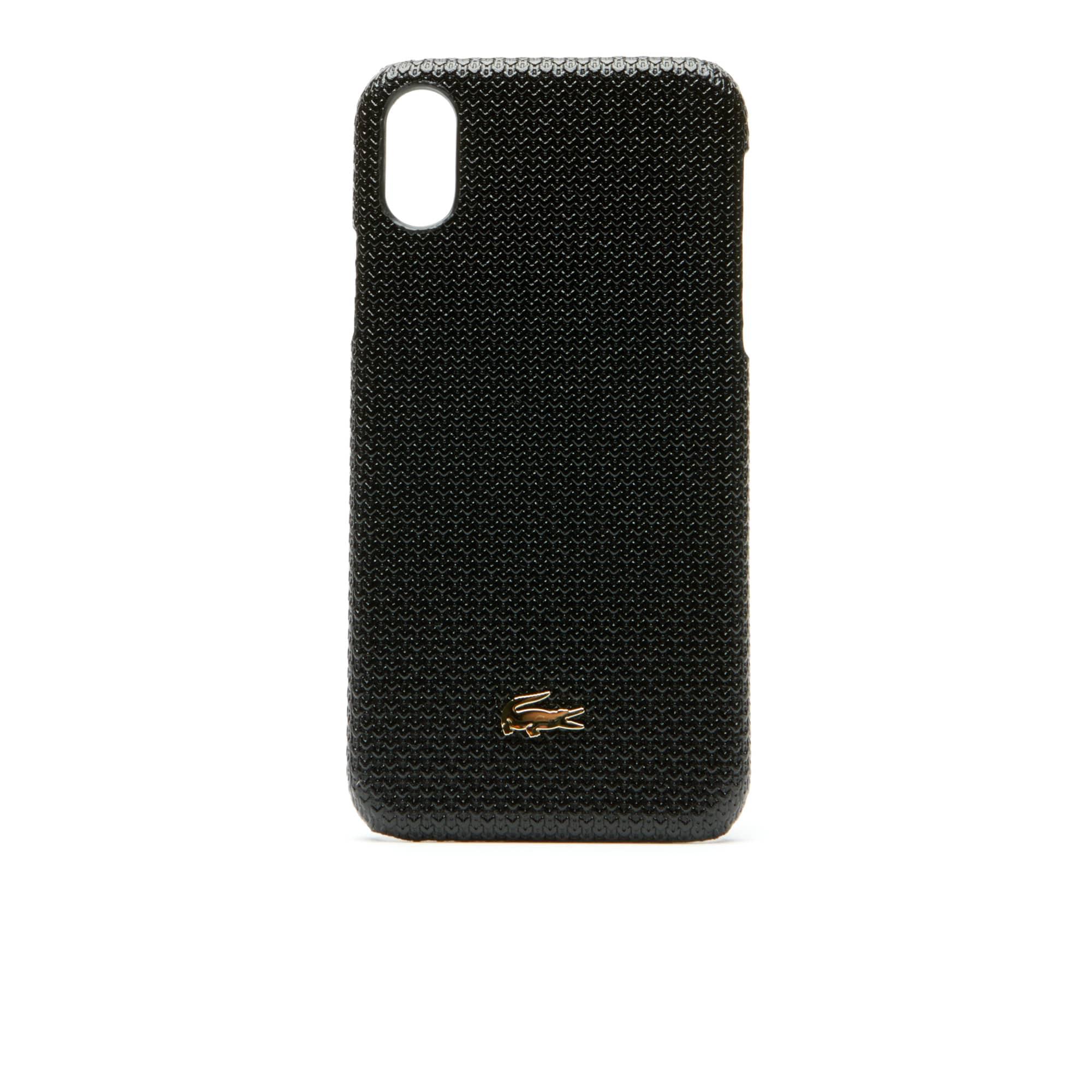 Coque iPhone X Chantaco en cuir piqué uni