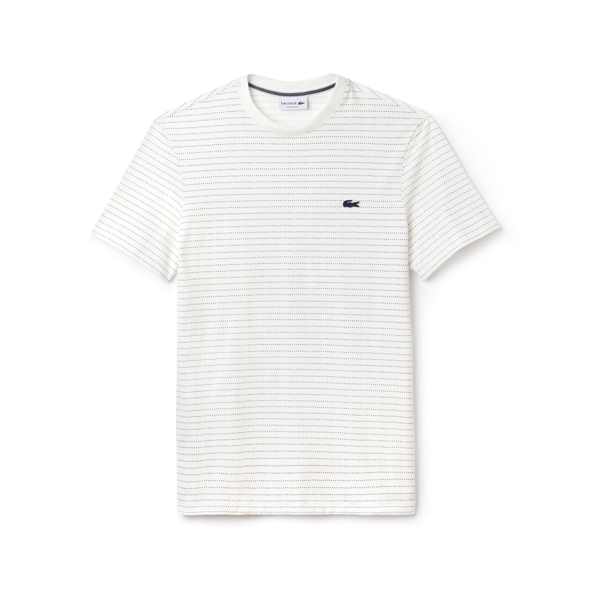 Lacoste - T-shirt col rond en jersey de coton imprimé filet - 3
